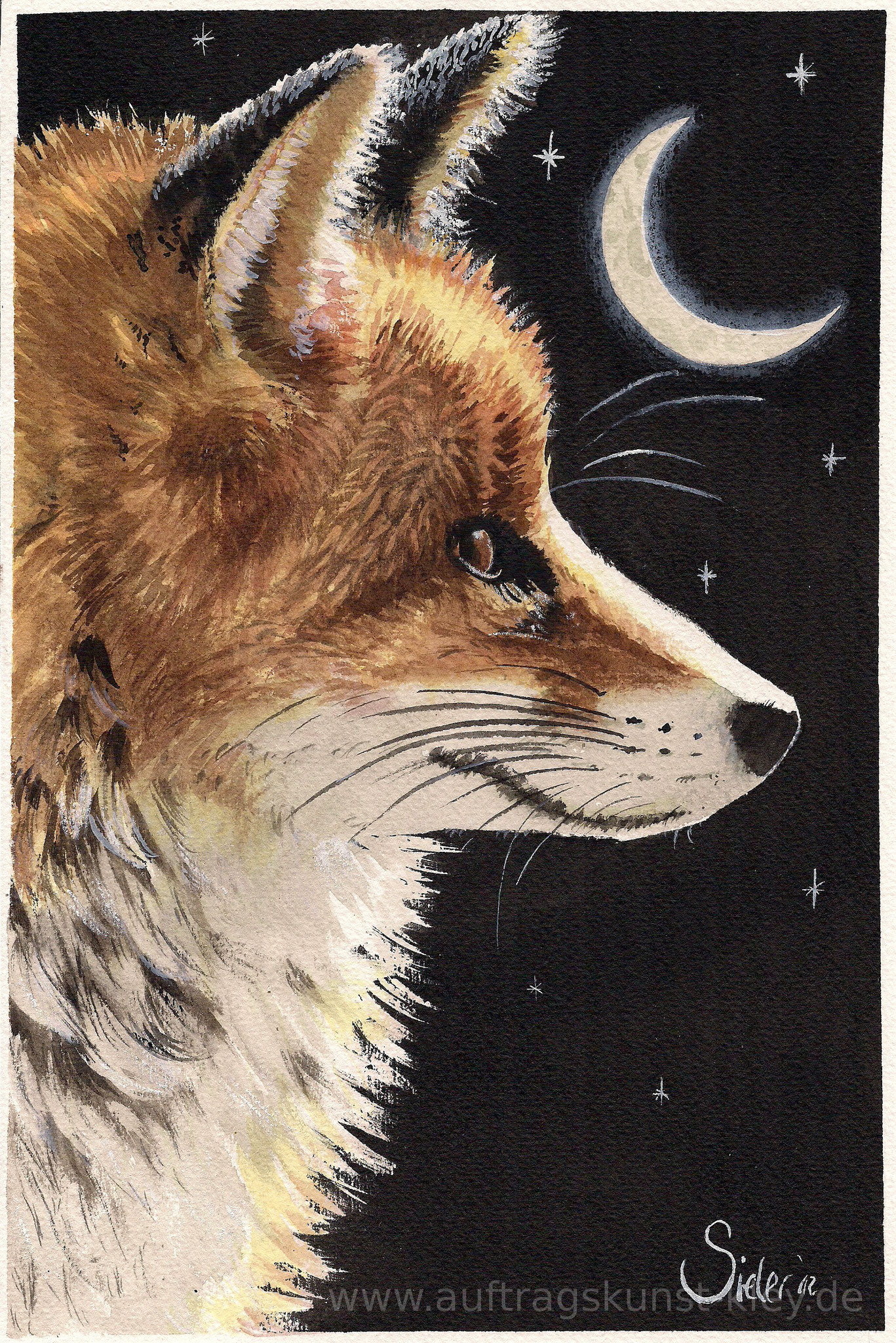 """Fox"" Mischtechnik auf Aquarellpapier 19x29cm - 100€"