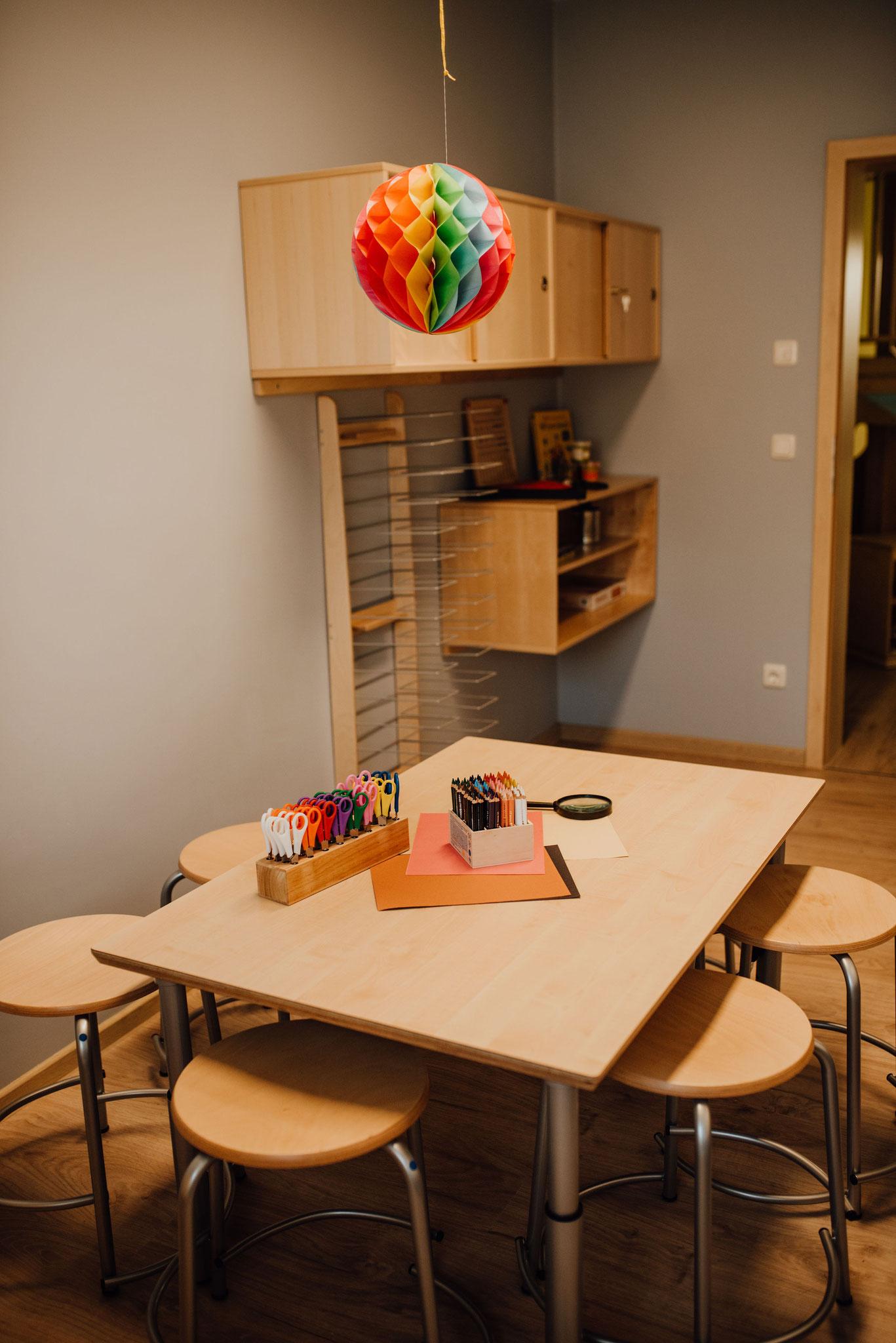 """Kindergarten- Themenraum """"Kreativität"""": Für unsere Igel-Kinder bieten wir insgesamt zwei Themenräume an. Im Themenraum """"Kreativität"""" soll sich Ihr Kind durch künstlerische Tätigkeiten entwickeln."""