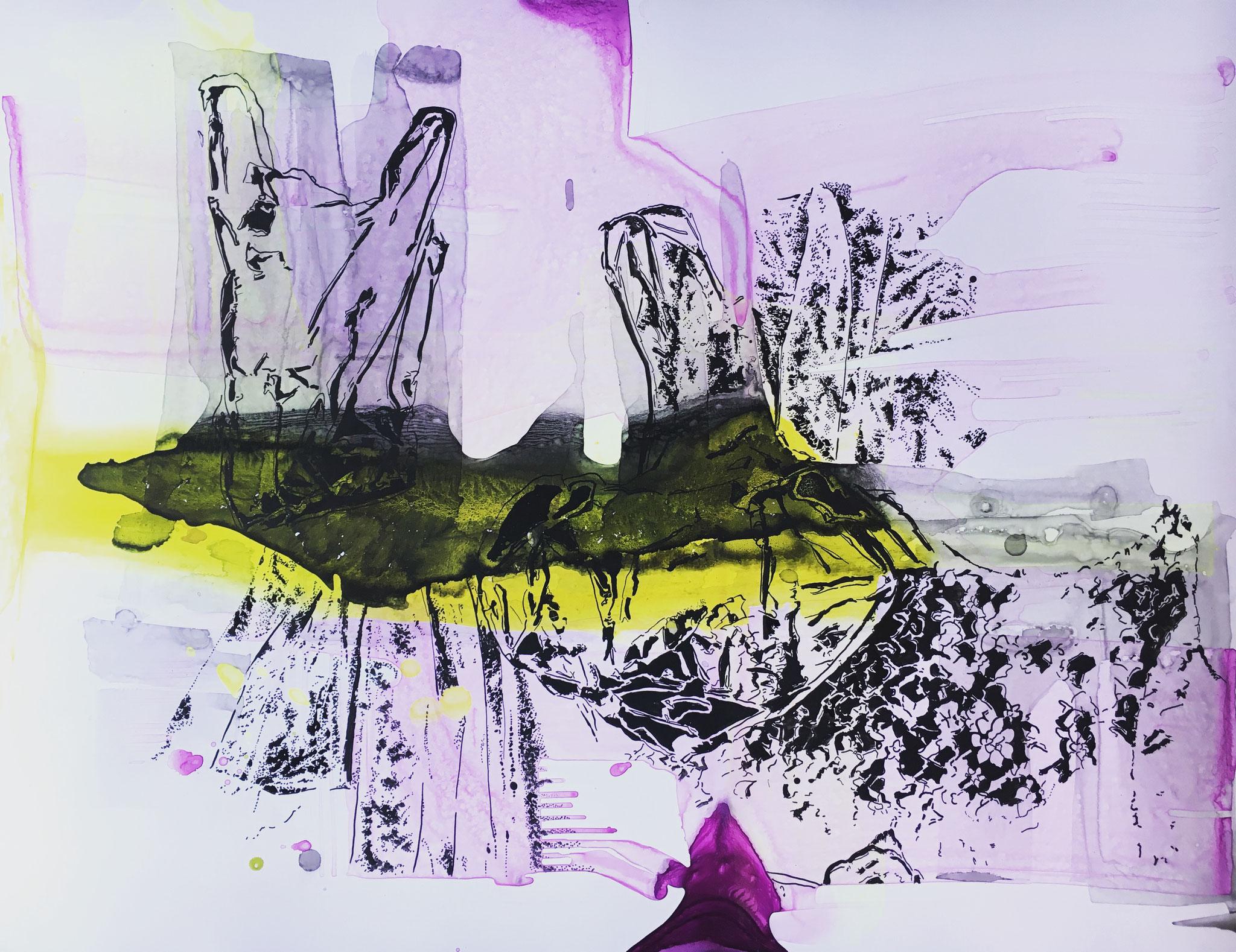 Joana Fischer, Plastic landscape II - Plastiklandschaft II, 2017, ink on yupo, 20 x 26 inches
