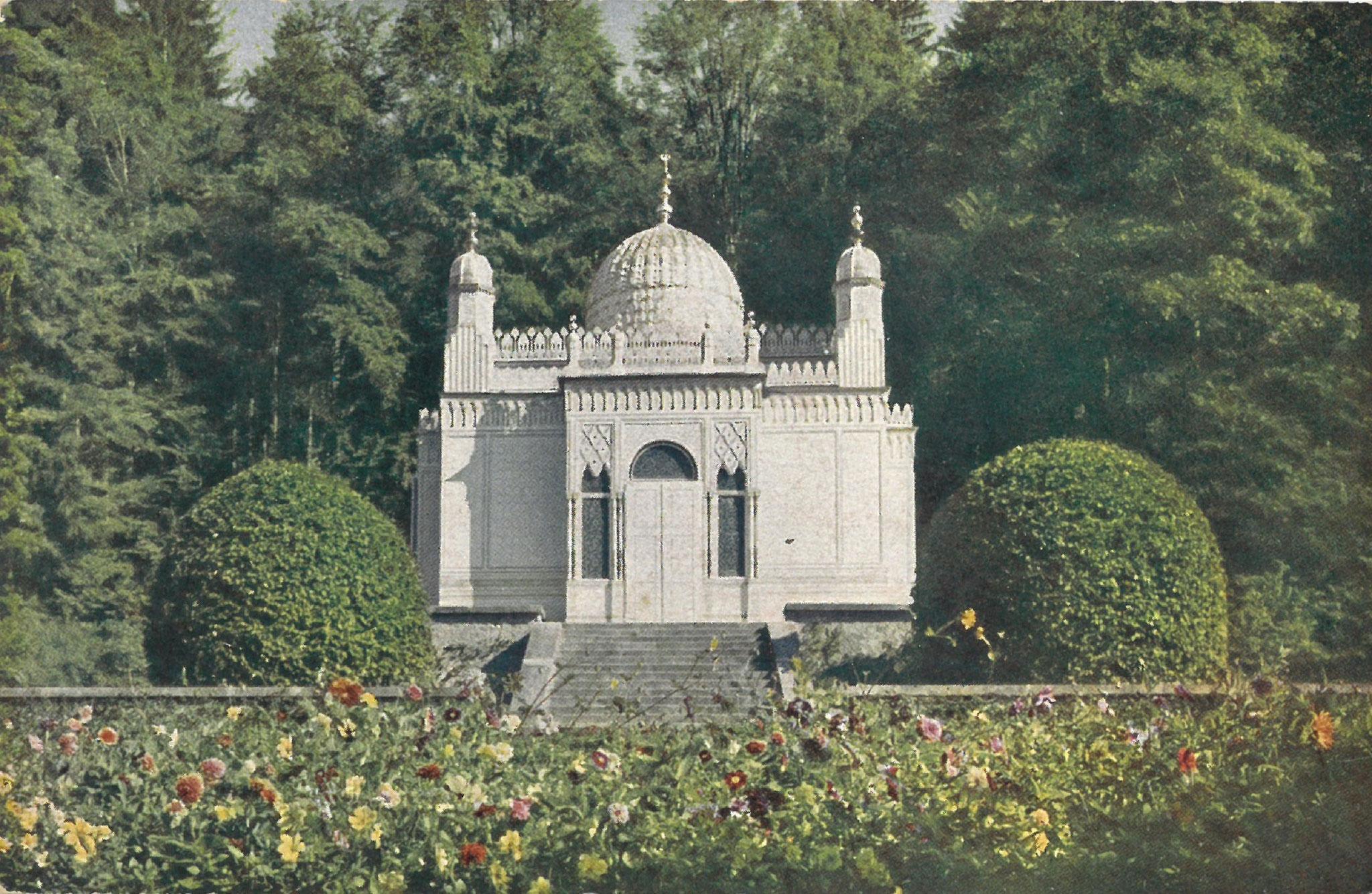 Maurischer Kiosk im Schlosspark Linderhof, Kiosk Bayern Karte von 1910 Gg. Lang sel. Erben Oberammergau Scan ICATAT
