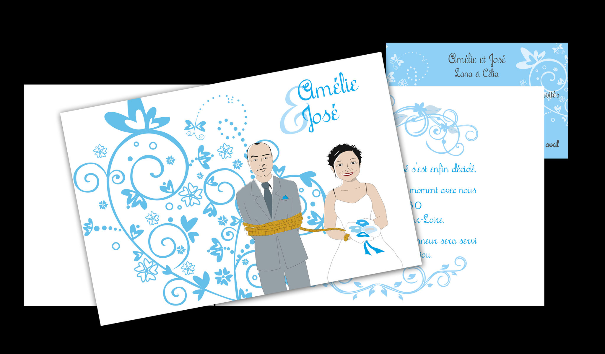 Faire-part mariage avec carton invitation repas ou vin d'honneur (portraits redessinés sur logiciel)