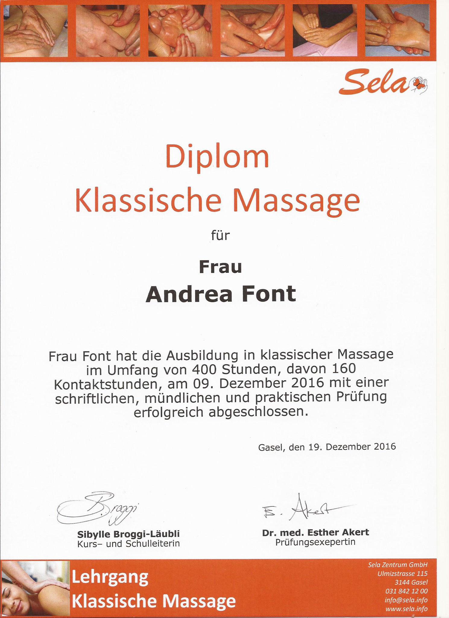 Klassische Massage, 2016