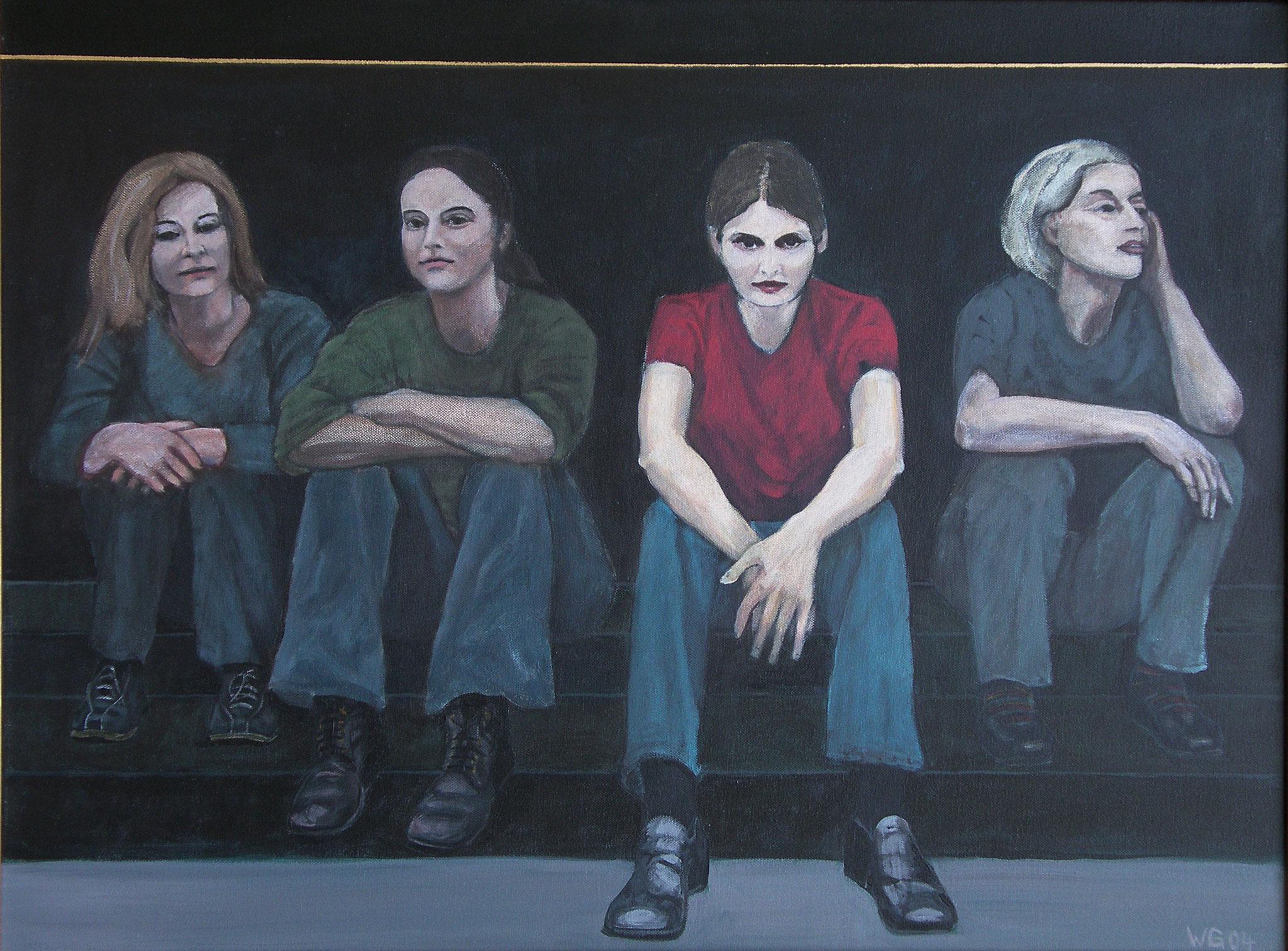 """""""Auf der Treppe"""", Acryl auf Baumwolle, 60x80, 2004"""