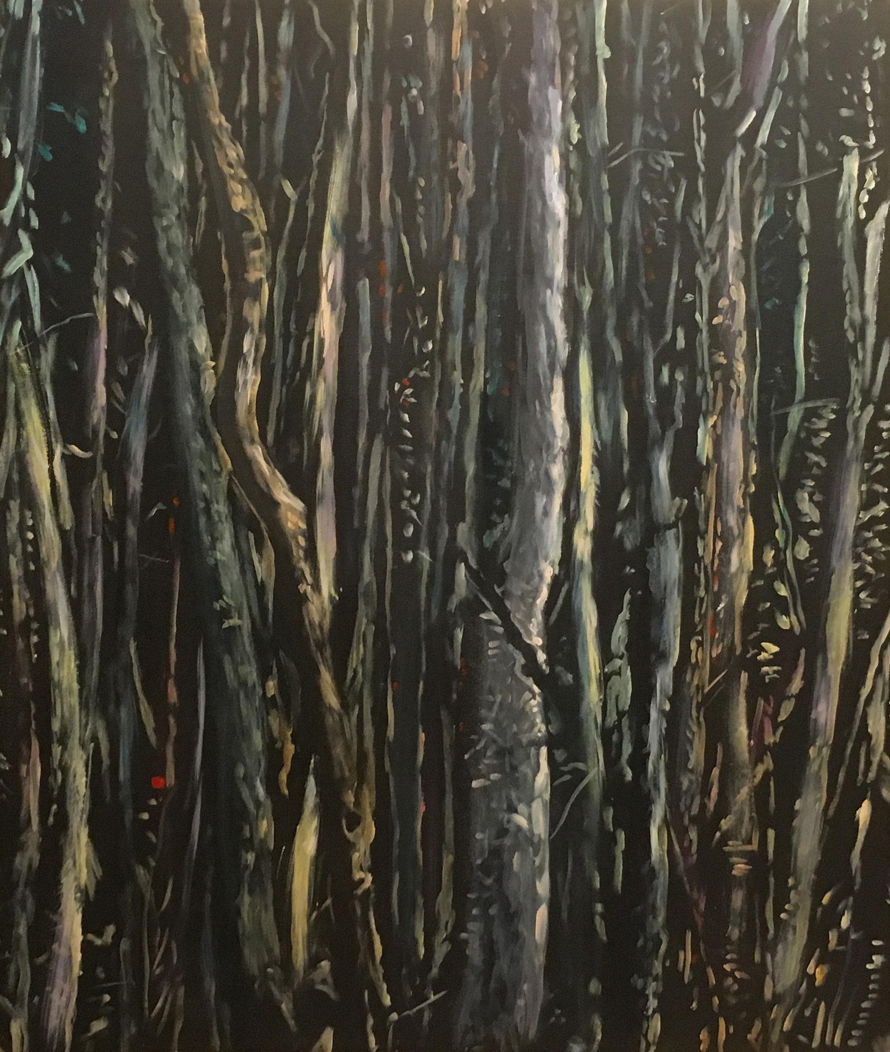 """""""Sumpfstämme"""", Acryl auf Baumwolle, 100x80, 2015"""