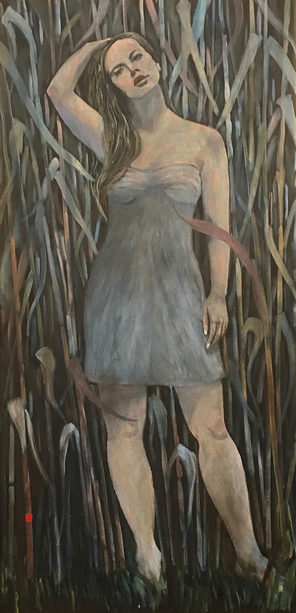 """""""Nymphe vor Schilf"""", Acryl auf Baumwolle, 100x70, 2015"""