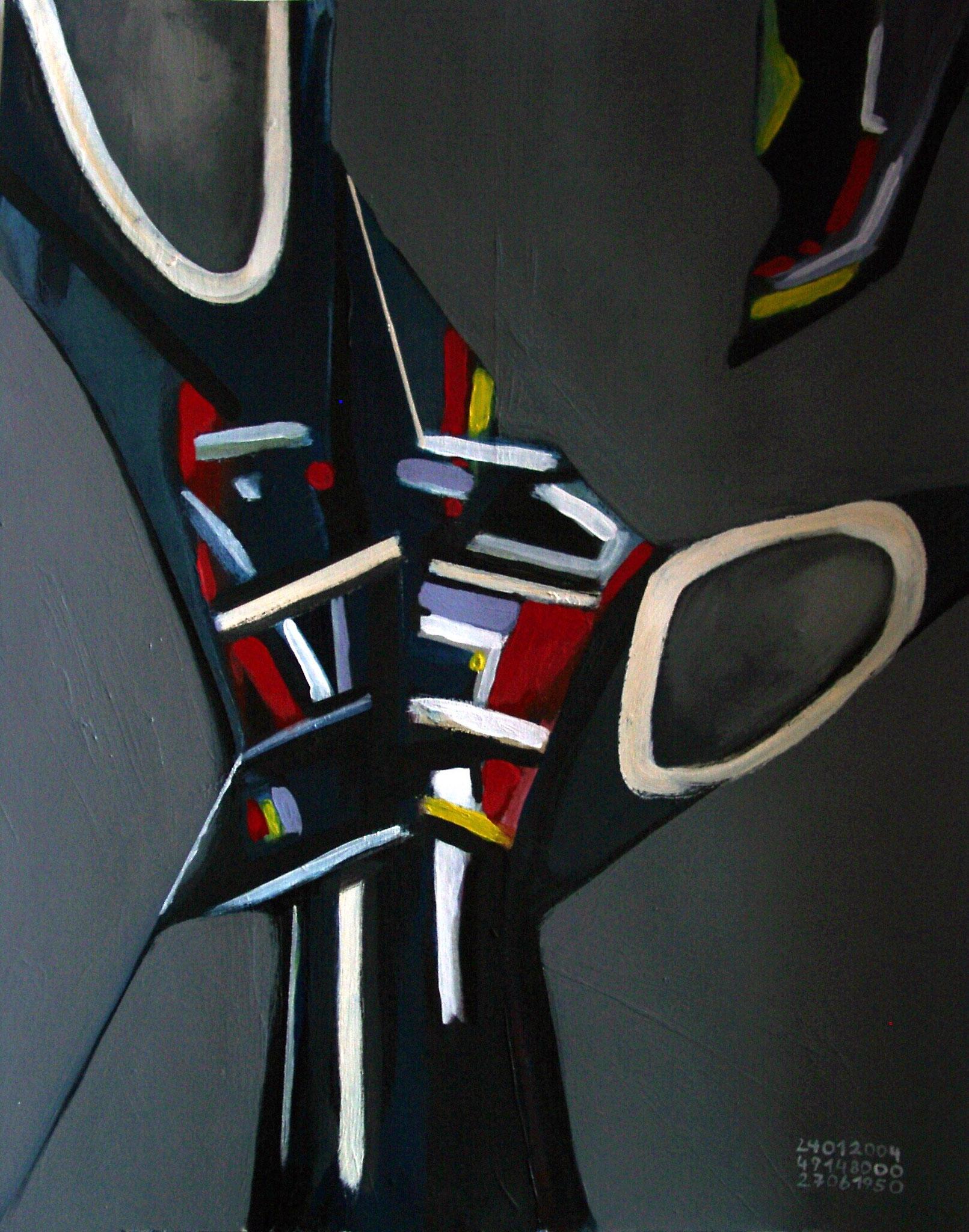 """""""Gestutzt"""", Acryl auf Papier, 56x42, 2004"""