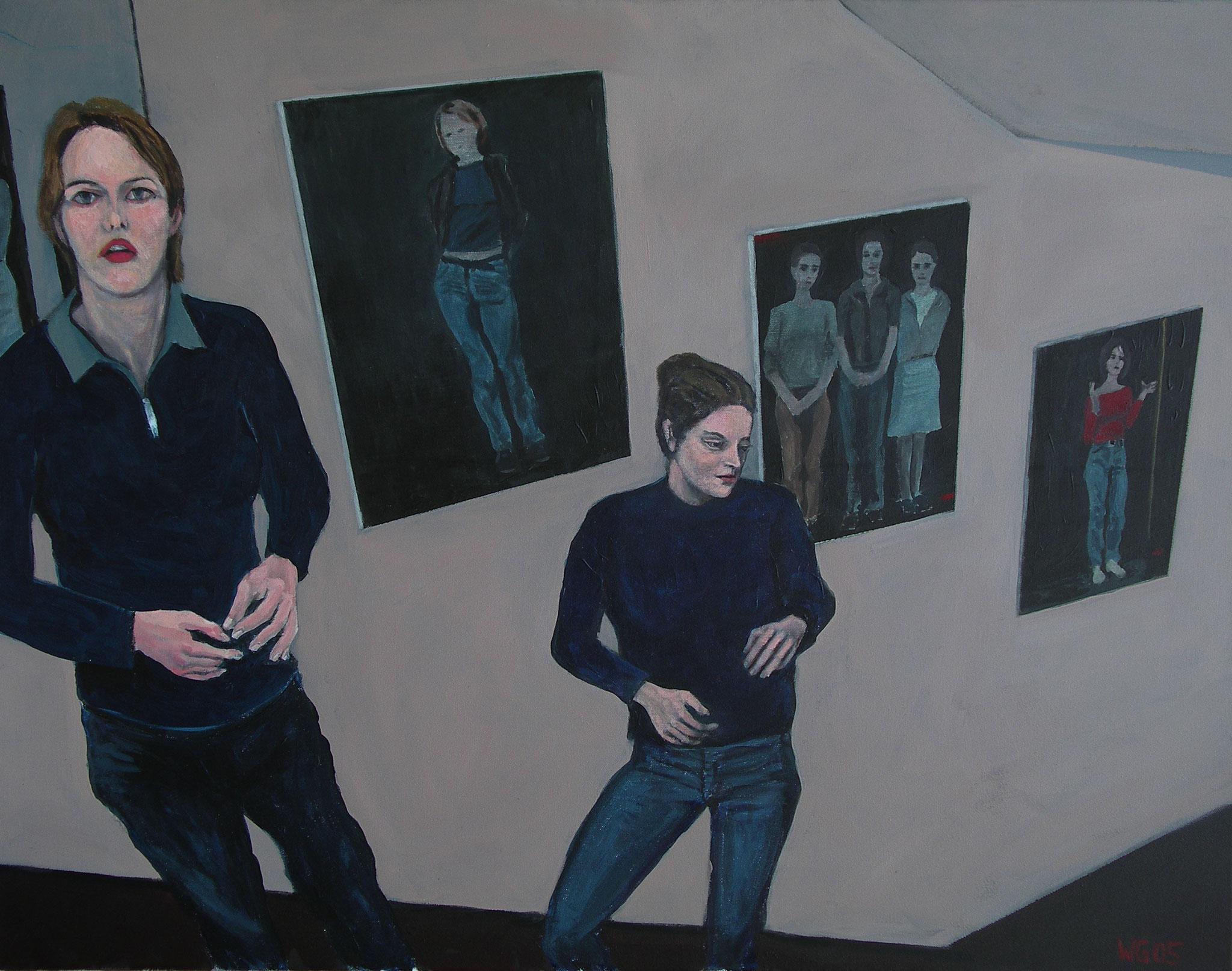 """""""Vor meinen Bildern"""", Acryl auf Leinwand, 70x90, 2005"""