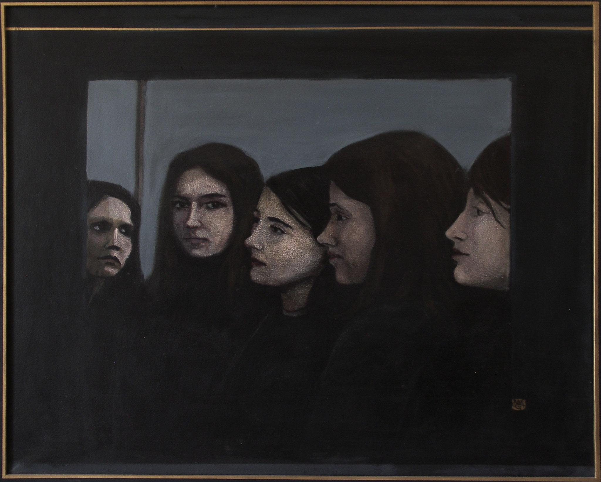 """Fünf Köpfe"", Acryl auf Leinwand, 60x70, 2004"