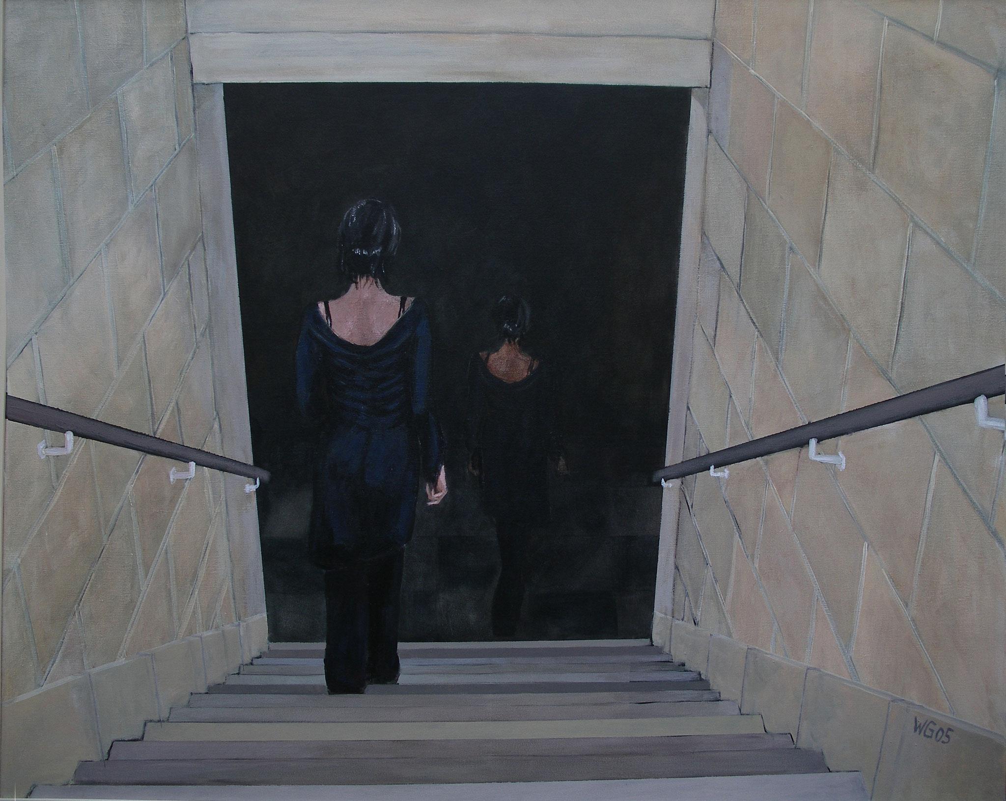 """""""Treppab"""", Acryl auf Baumwolle, 80x100, 2005"""