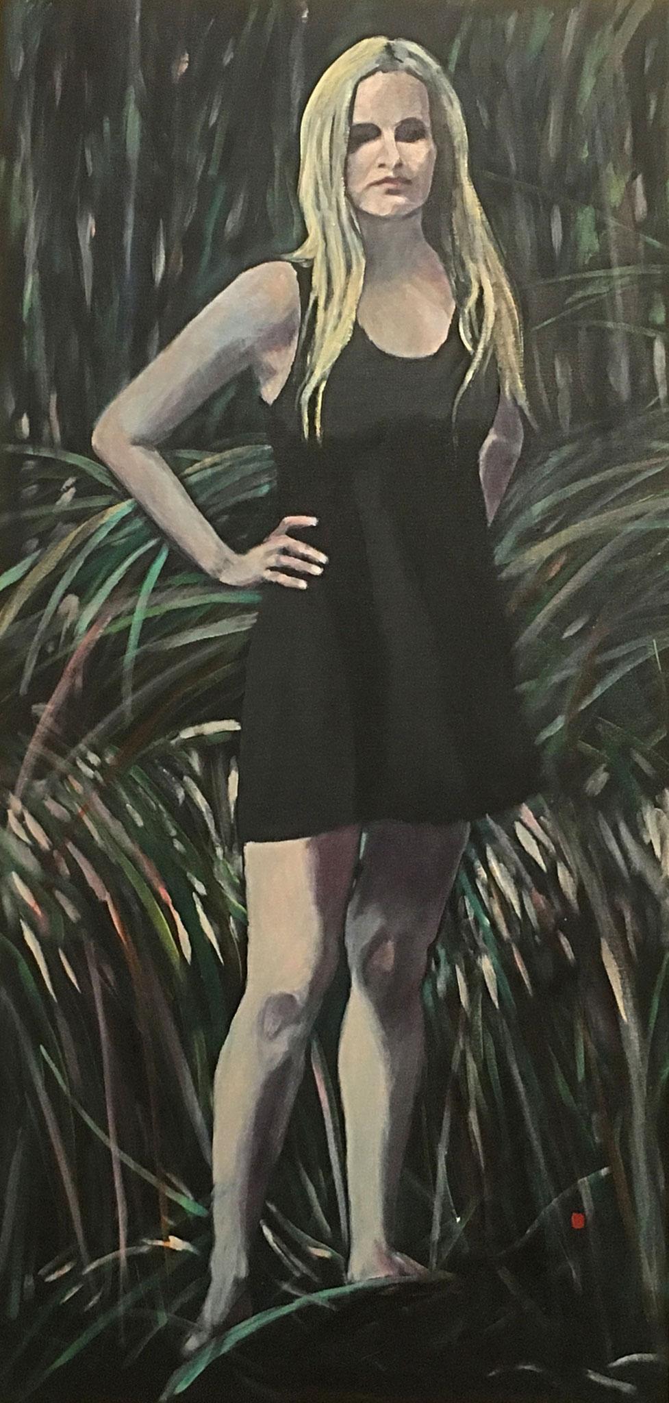 """""""Nymphe vor Gras"""", Acryl auf Baumwolle, 100x70, 2015"""