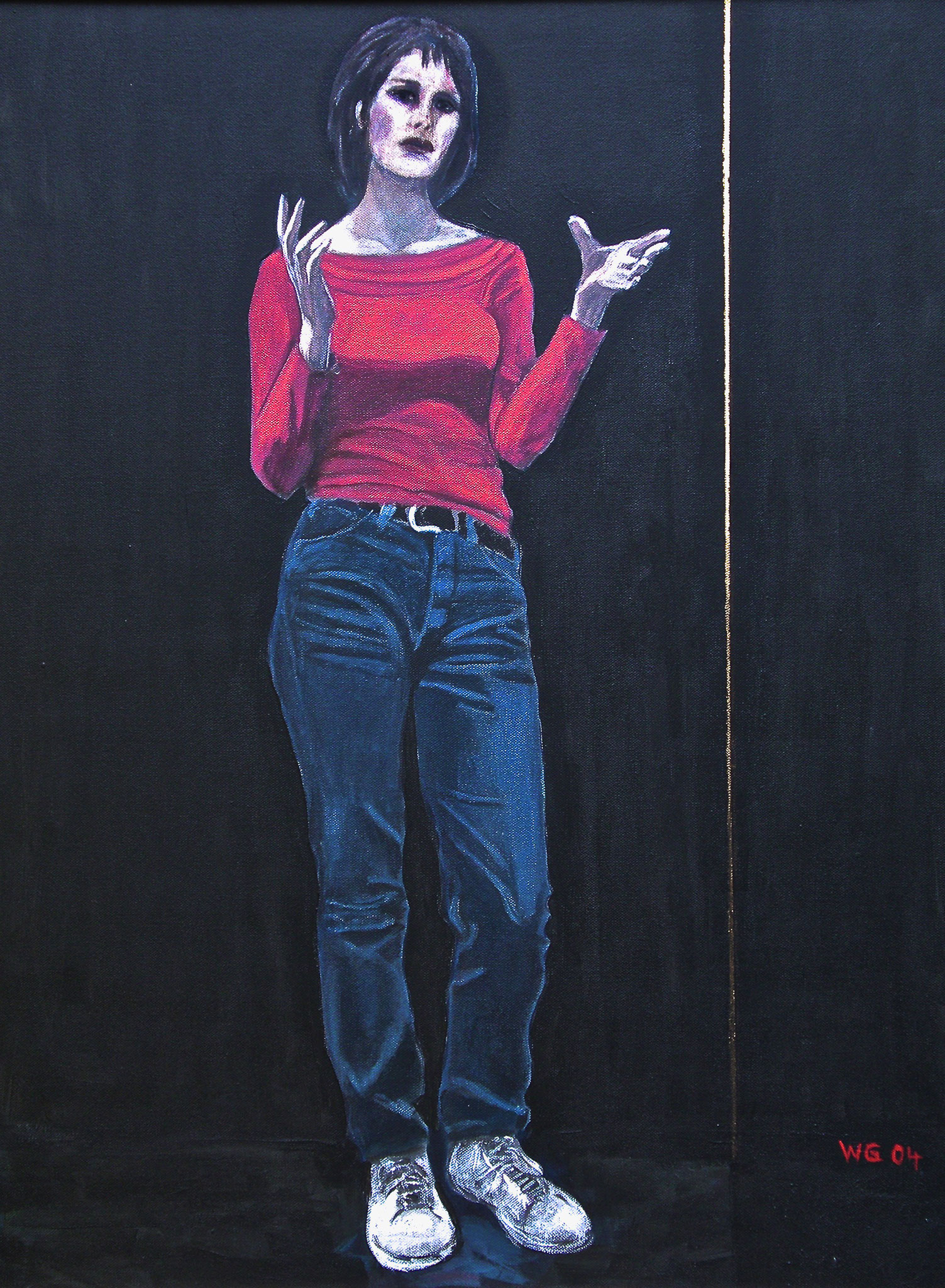 """Roter Pullover"", Acryl auf Baumwolle, 80x60, 2004"
