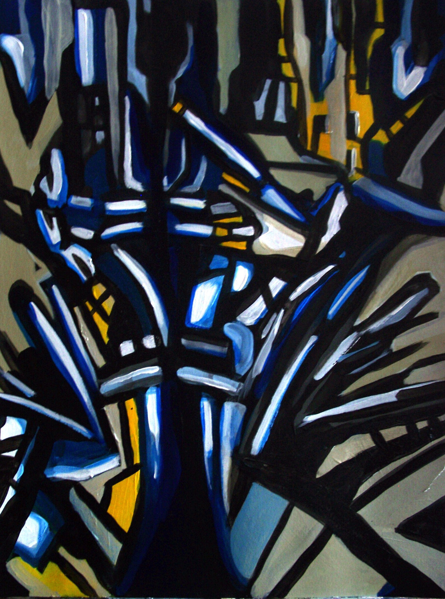 """Blaubaum"", Acryl auf Papier, 56x42, 2004"