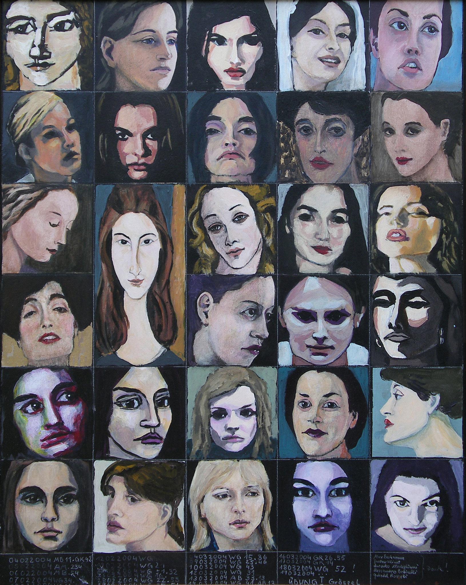 """29 Köpfe"", Acryl auf Papier auf Holz, 64x50,5, 2004"