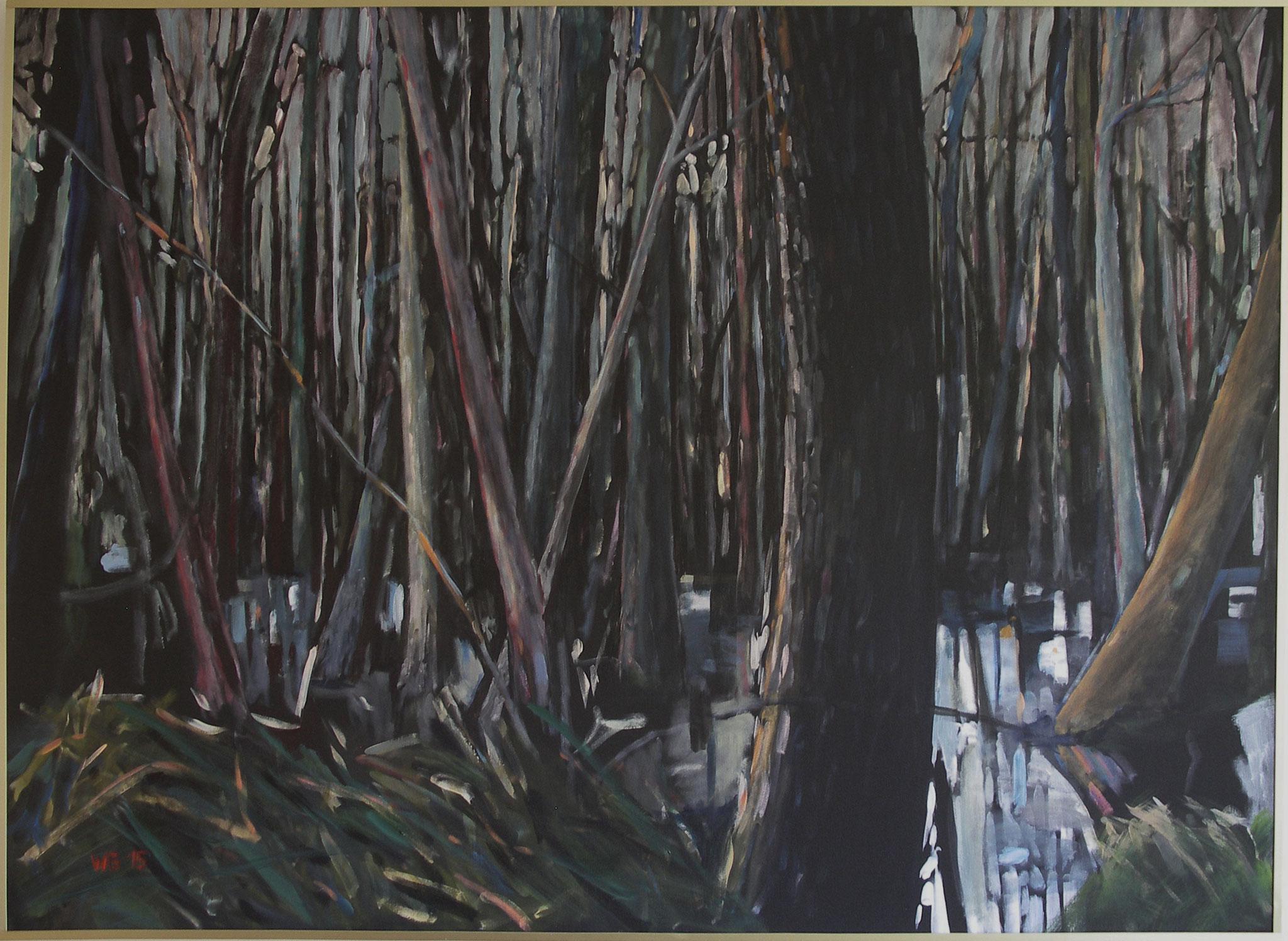 """Bäume im Sumpf II"", Acryl auf Baumwolle, 100x140, 2015"