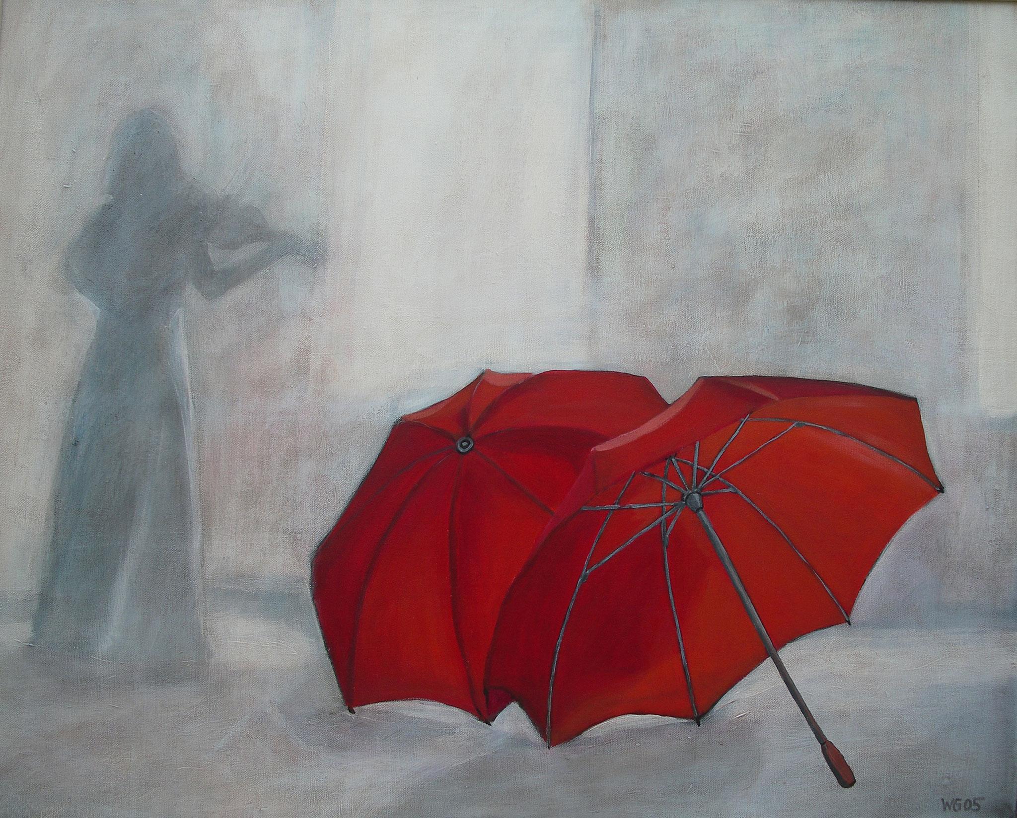 """""""Schirme"""", Acryl auf Baumwolle , 80x100, 2005"""
