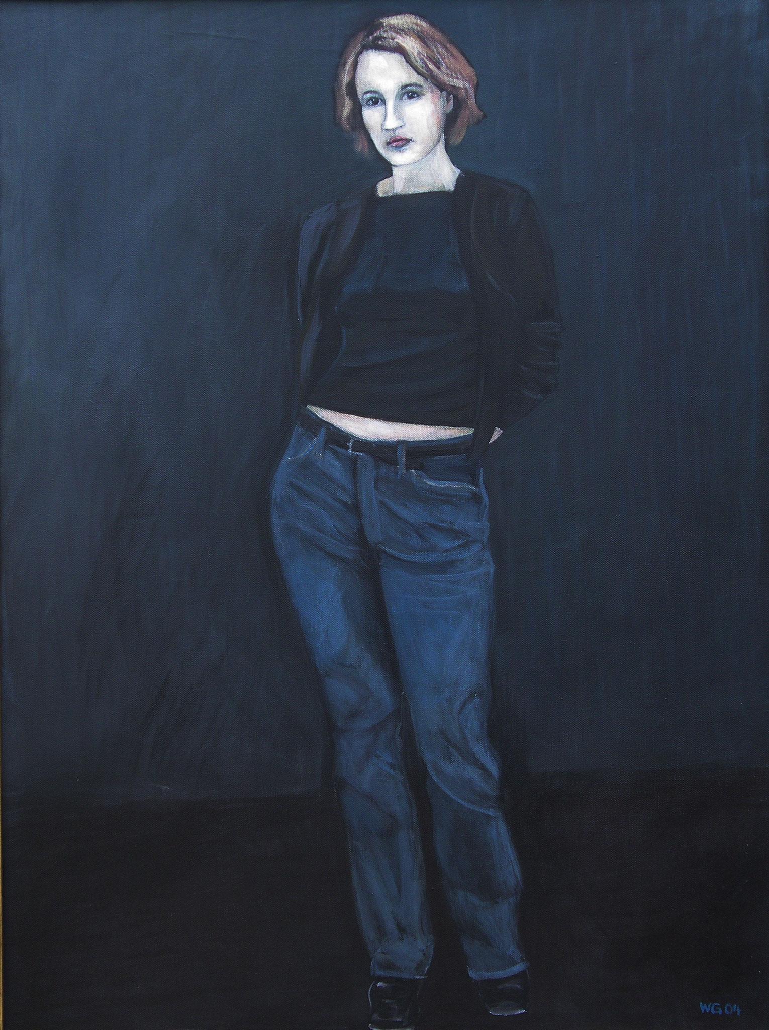 """Jeans"", Acryl auf Baumwolle, 80x60, 2004"