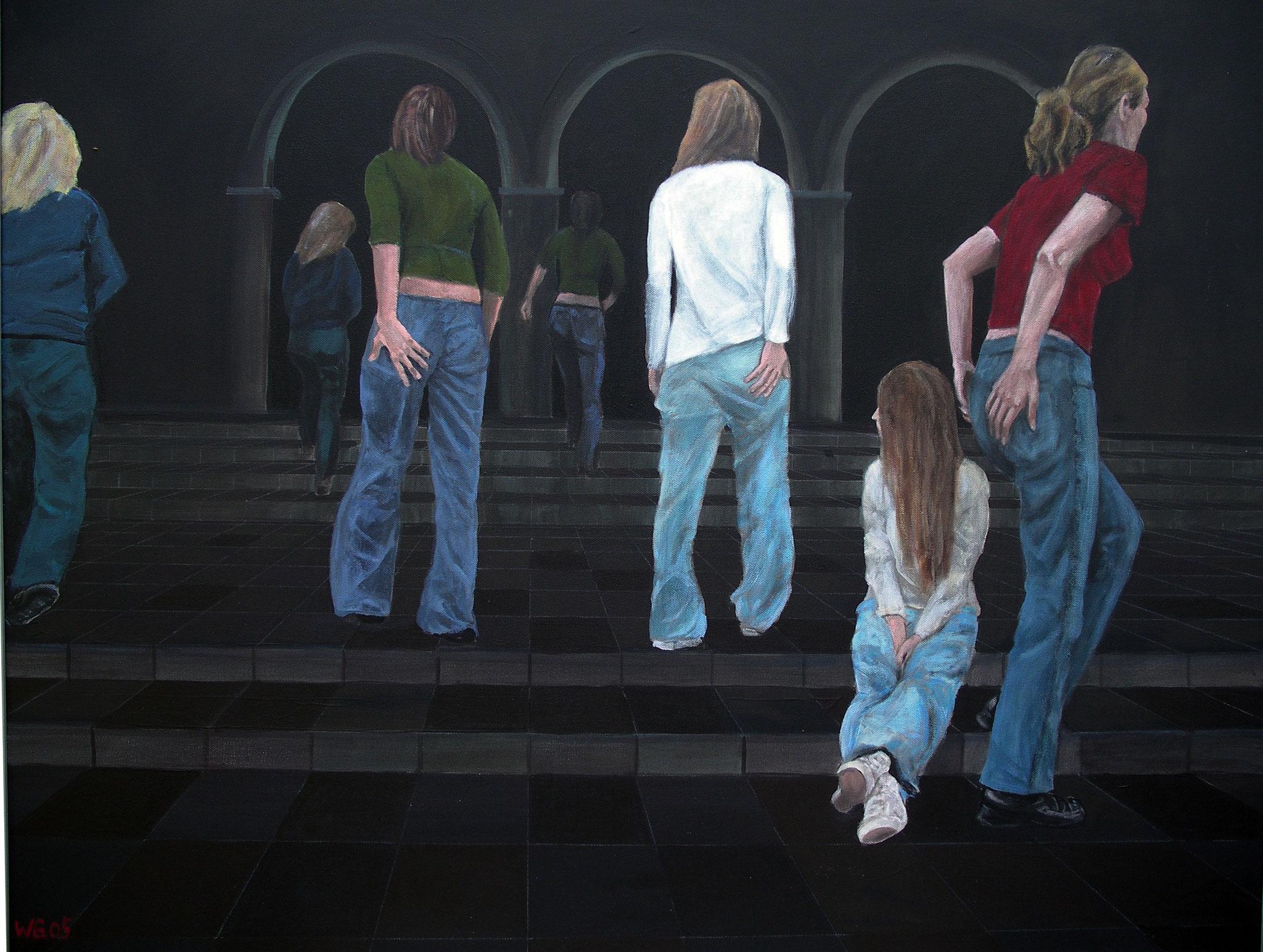 """""""Auf der Treppe II"""", Acryl auf Baumwolle, 80x100, 2005"""