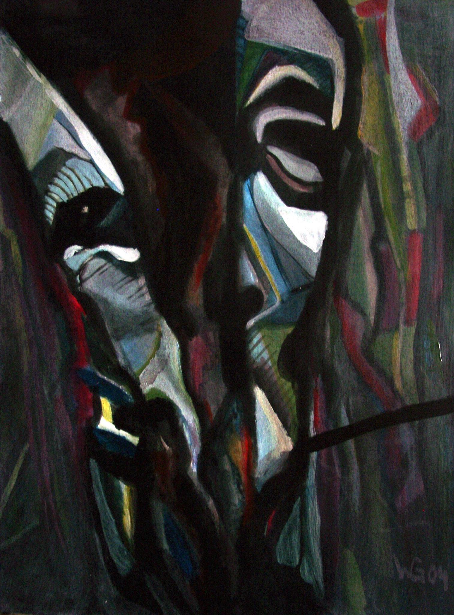 """""""Gespalten"""", Acryl auf Papier, 56x42, 2004"""