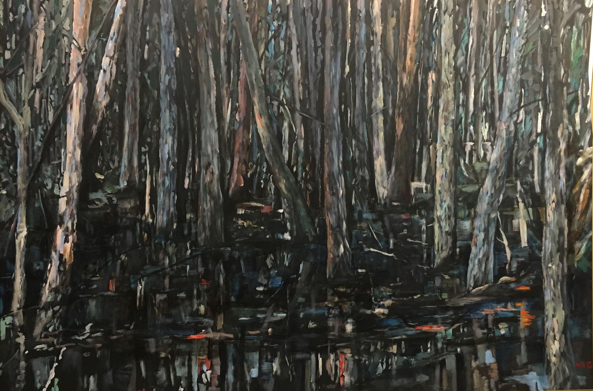 """Bäume im Sumpf"", Acryl auf Baumwolle, 100x140, 2015"