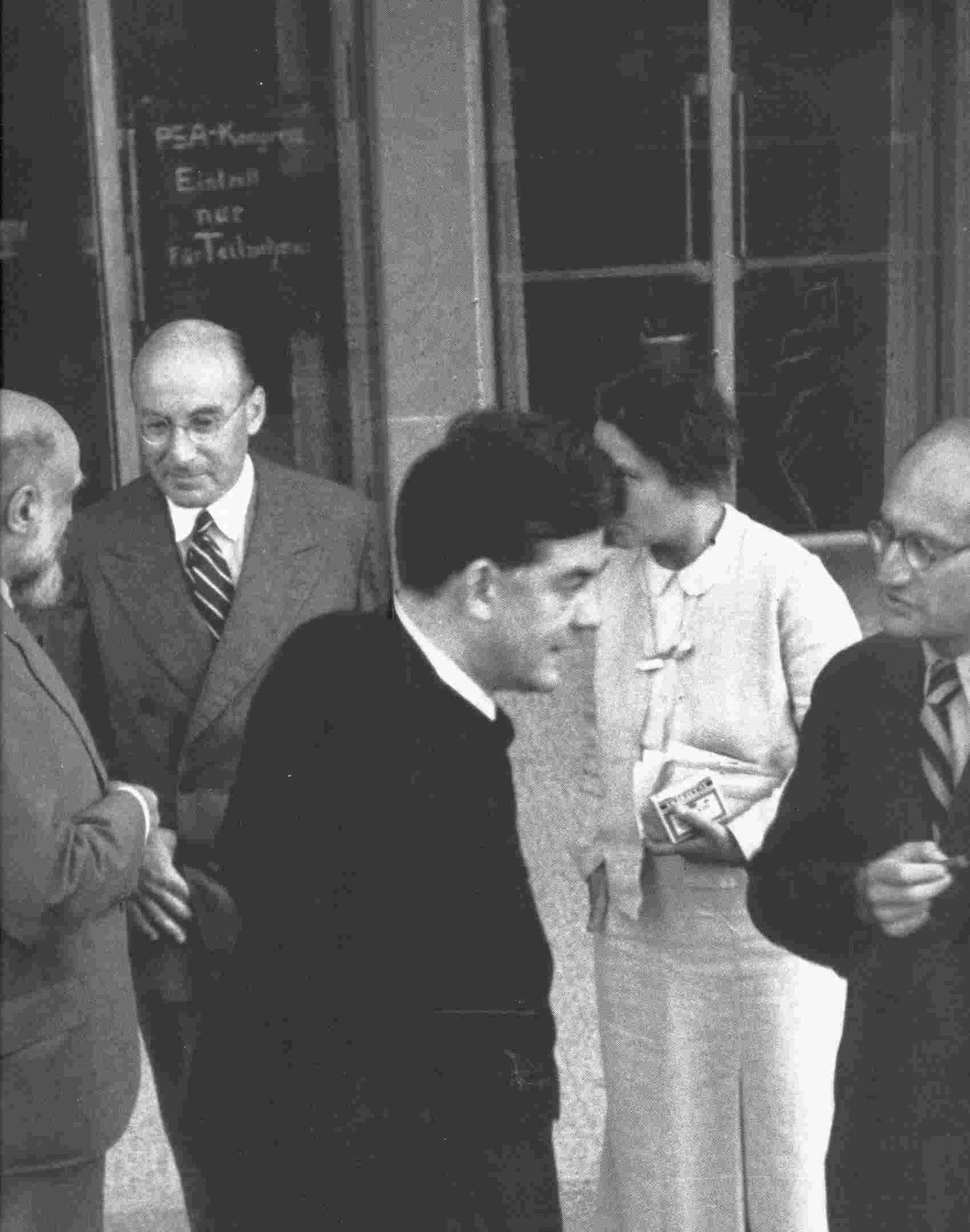 3. René Spitz mit Paul Federn; Heinrich Meng mit Eduardo Weiss, IPV-Kongress 1934, Luzern