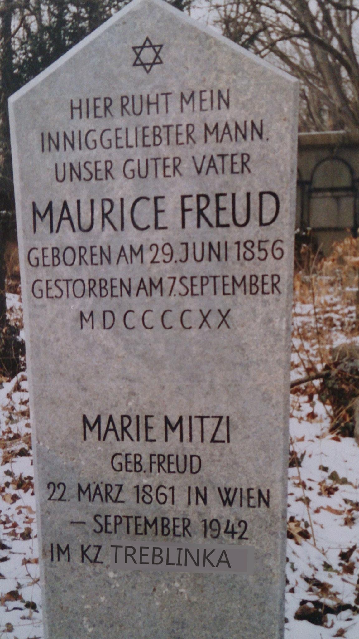 Grabstein für Maurice Freud mit Zusatz für Mitzi Freud