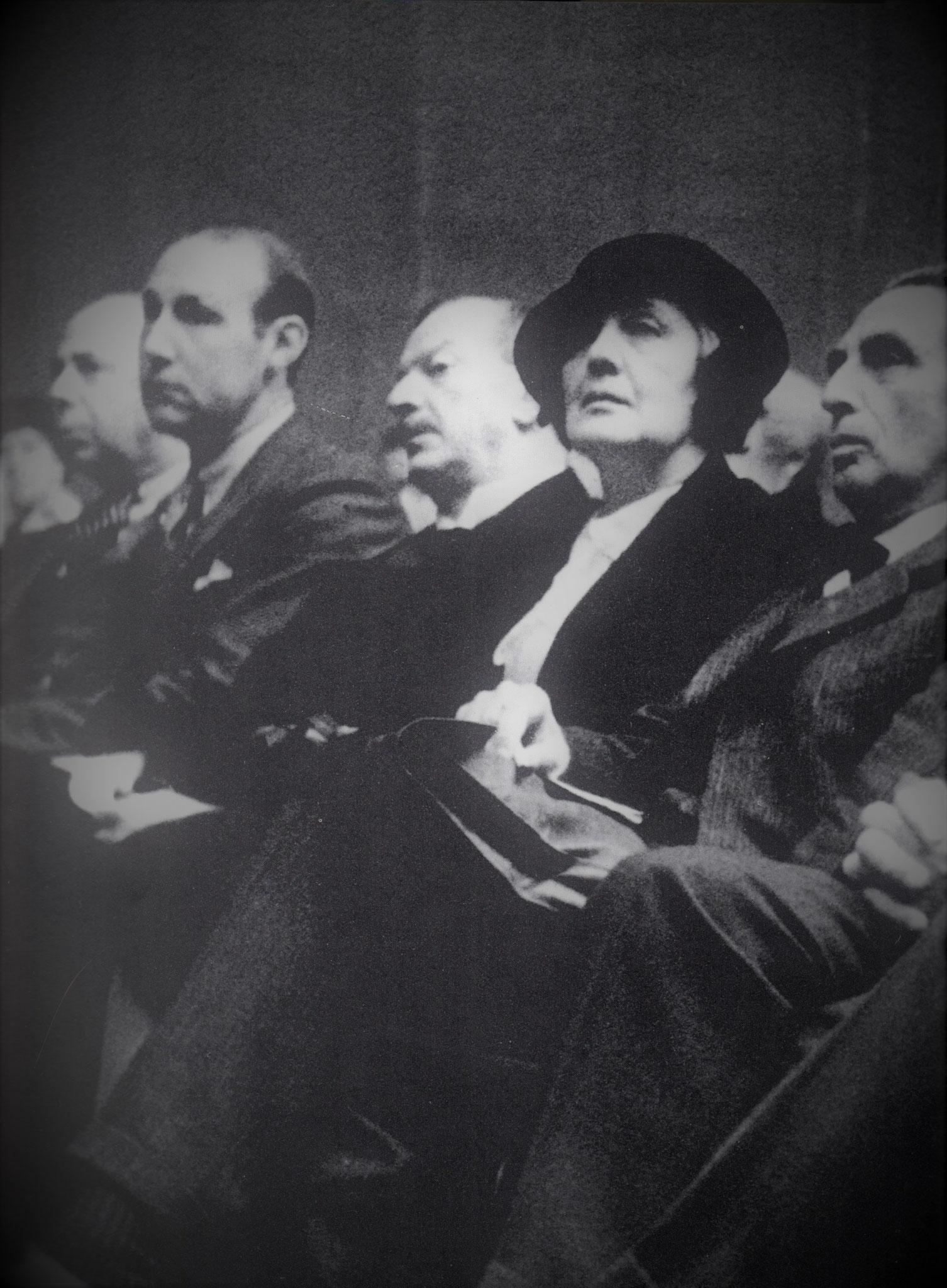 v.l. C.P.Oberndorf, ?, Oskar Pfister, Melanie Klein und István Hollós, 1934