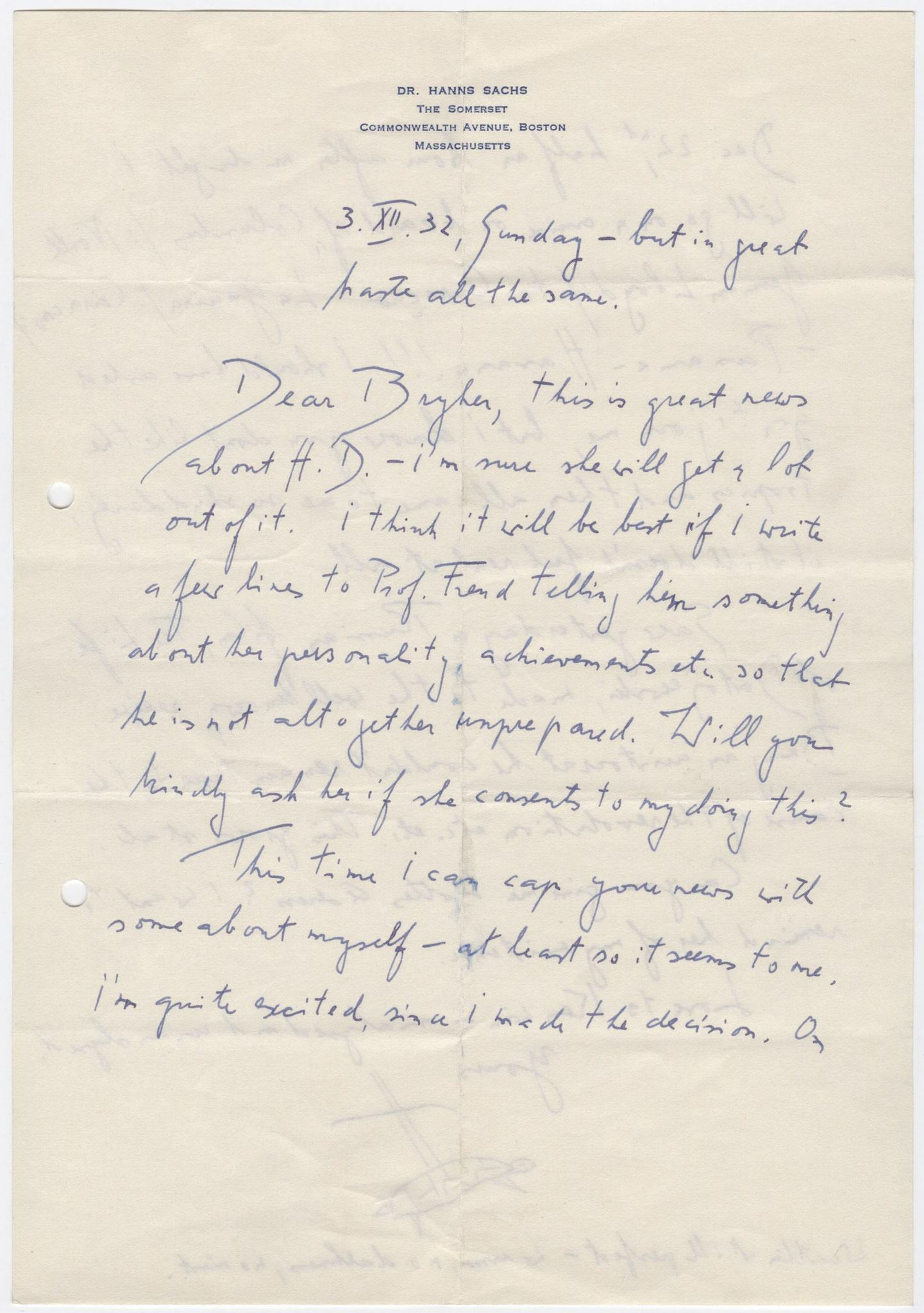 Sachs an Bryher, 3. Dezember 1932