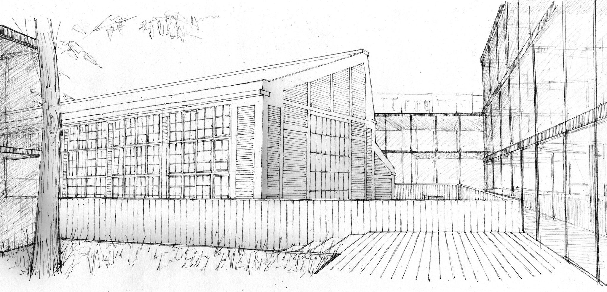 Vue sur la façade sud de l'auditorium