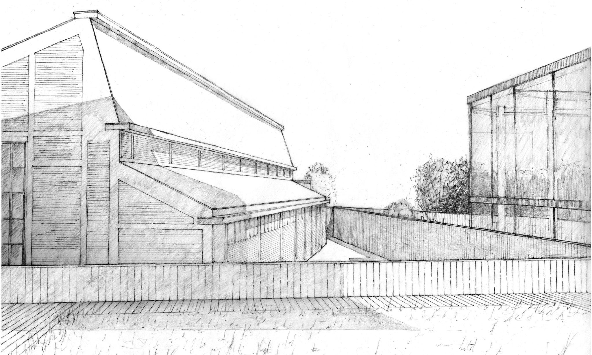 Vue sur la façade nord de l'auditorium