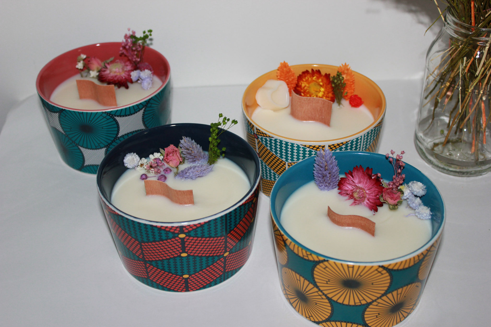 Bougie végétale fleurie déco imprimé WAX