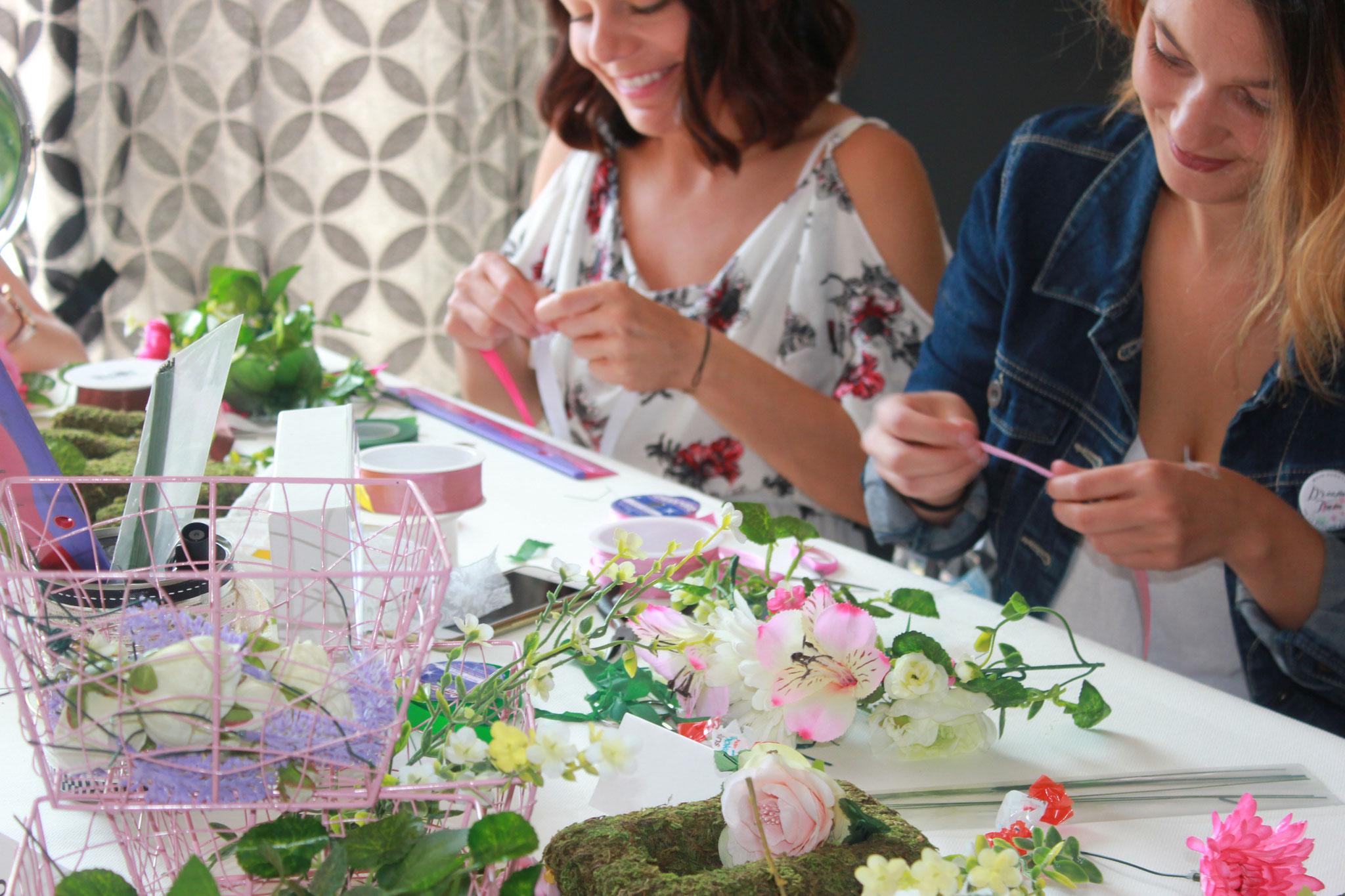Atelier DIY EVJF Couronne de fleurs