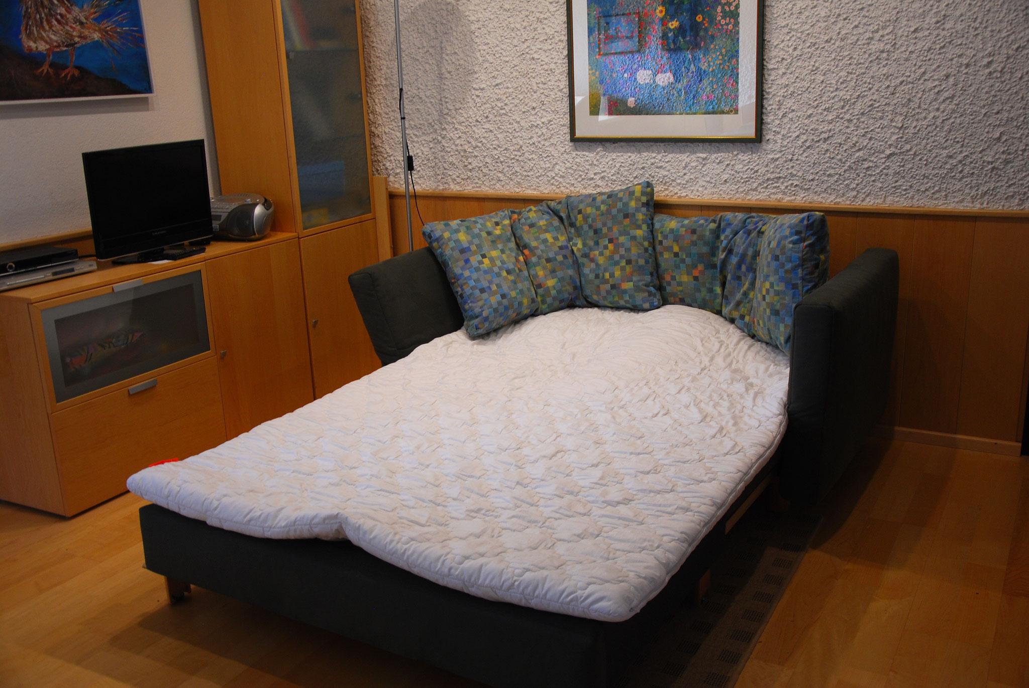 Das Sofa kann zum Bett umgebaut werden