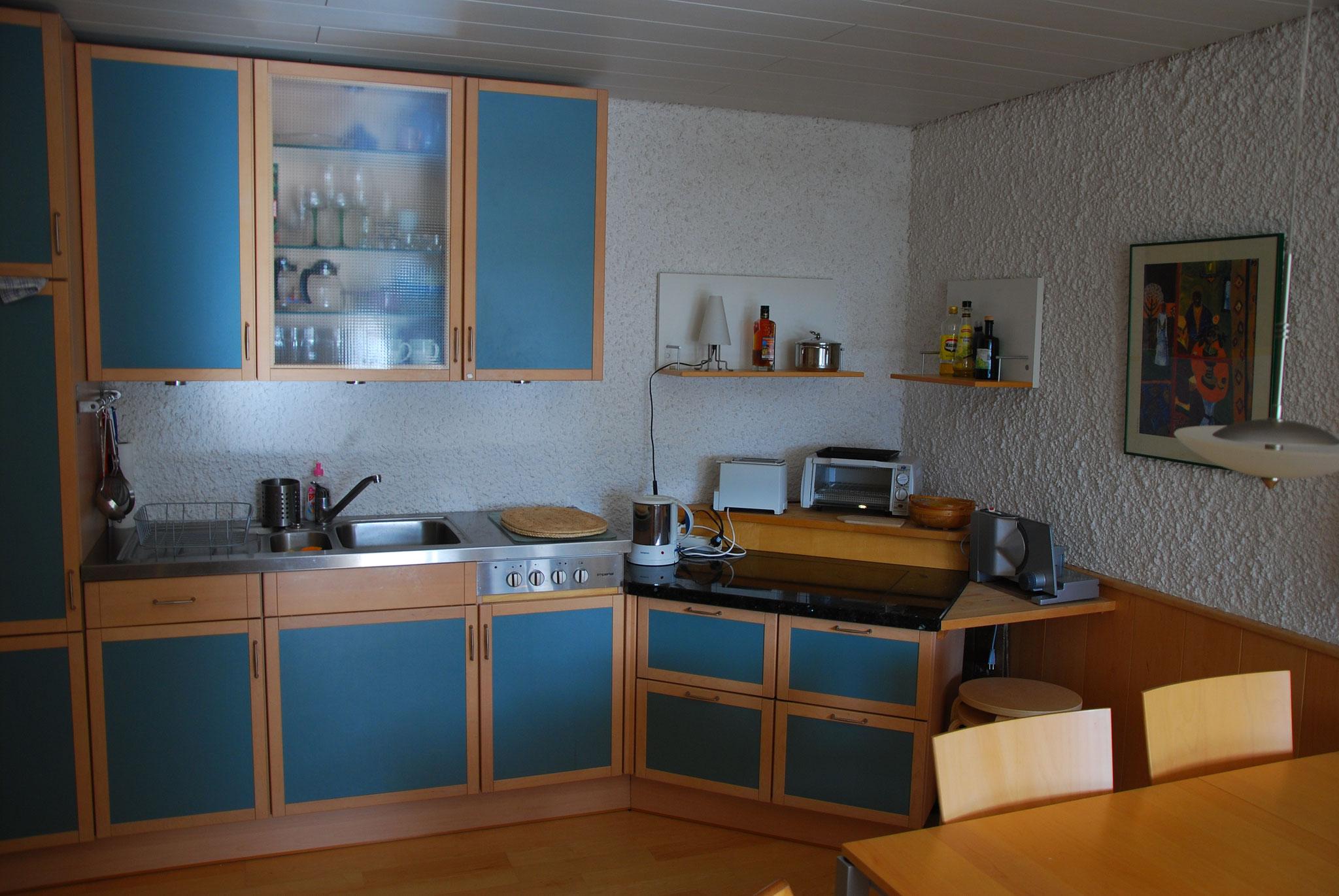 Die Küchenzeile ist direkt im Wohnbereich