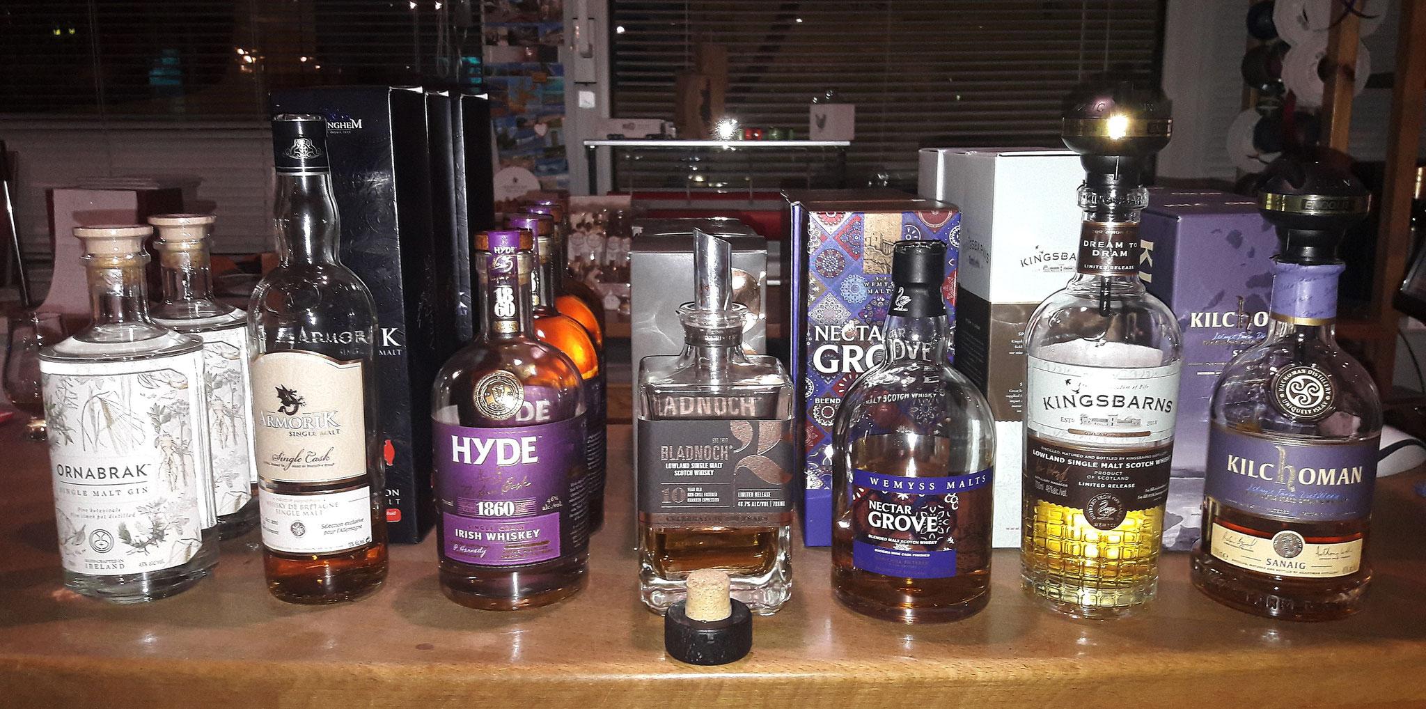 Whiskyauswahl ARMORIK, HYDE, BLADNOCH, WEMYSS, KINGSBARNS, KILCHOMAN