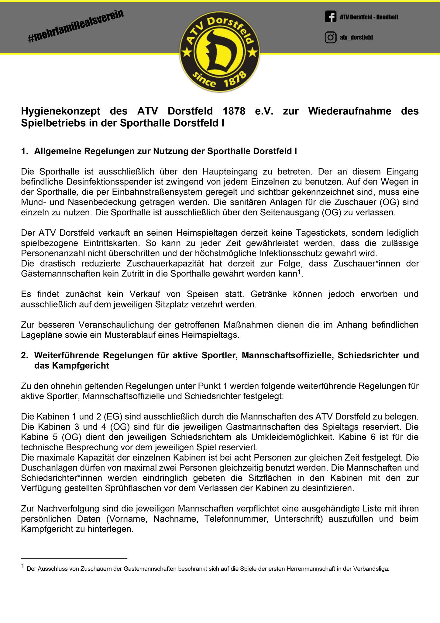 Seite 1 - Hygienekonzept des ATV Dorstfeld