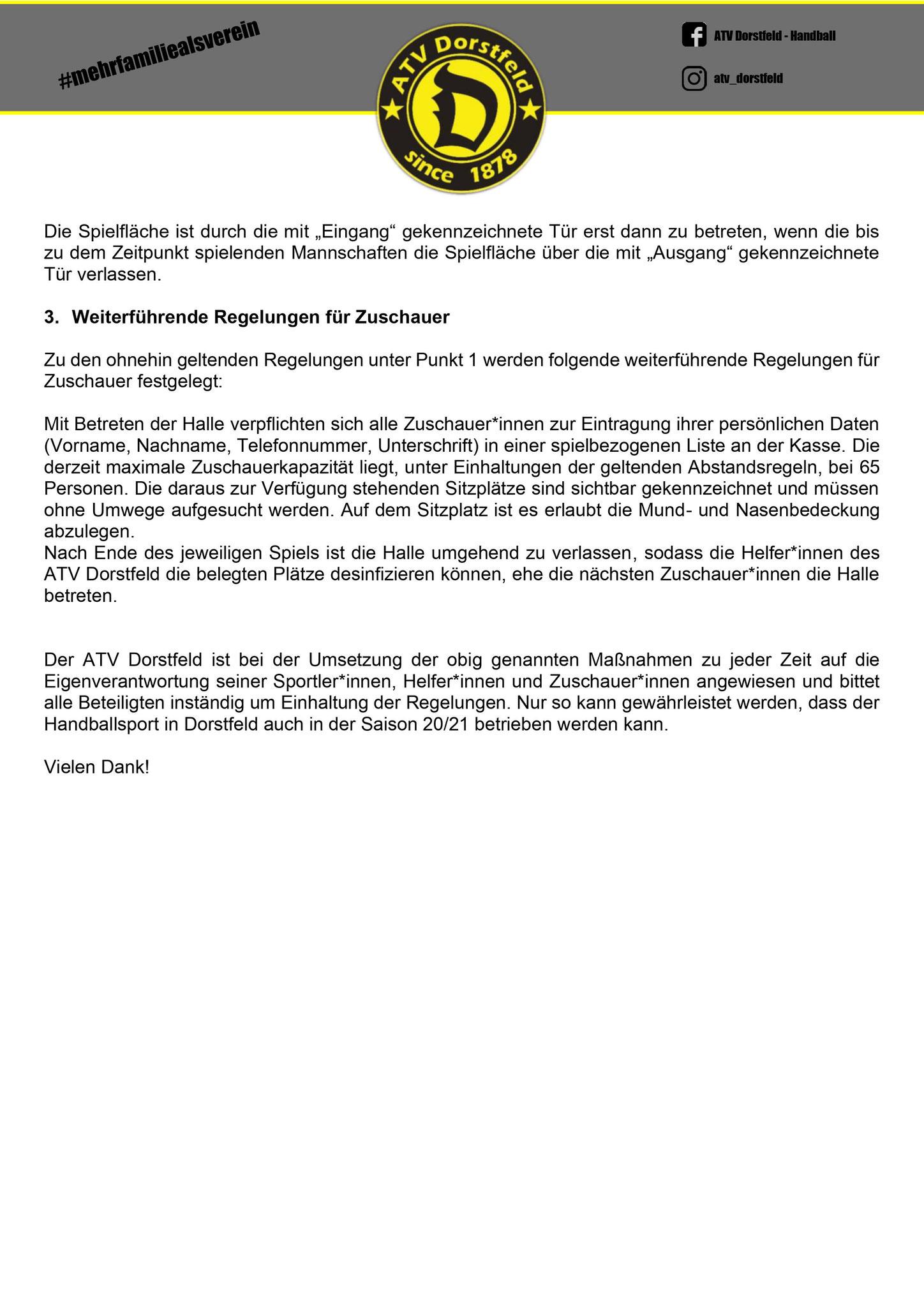 Seite 2 - Hygienekonzept des ATV Dorstfeld