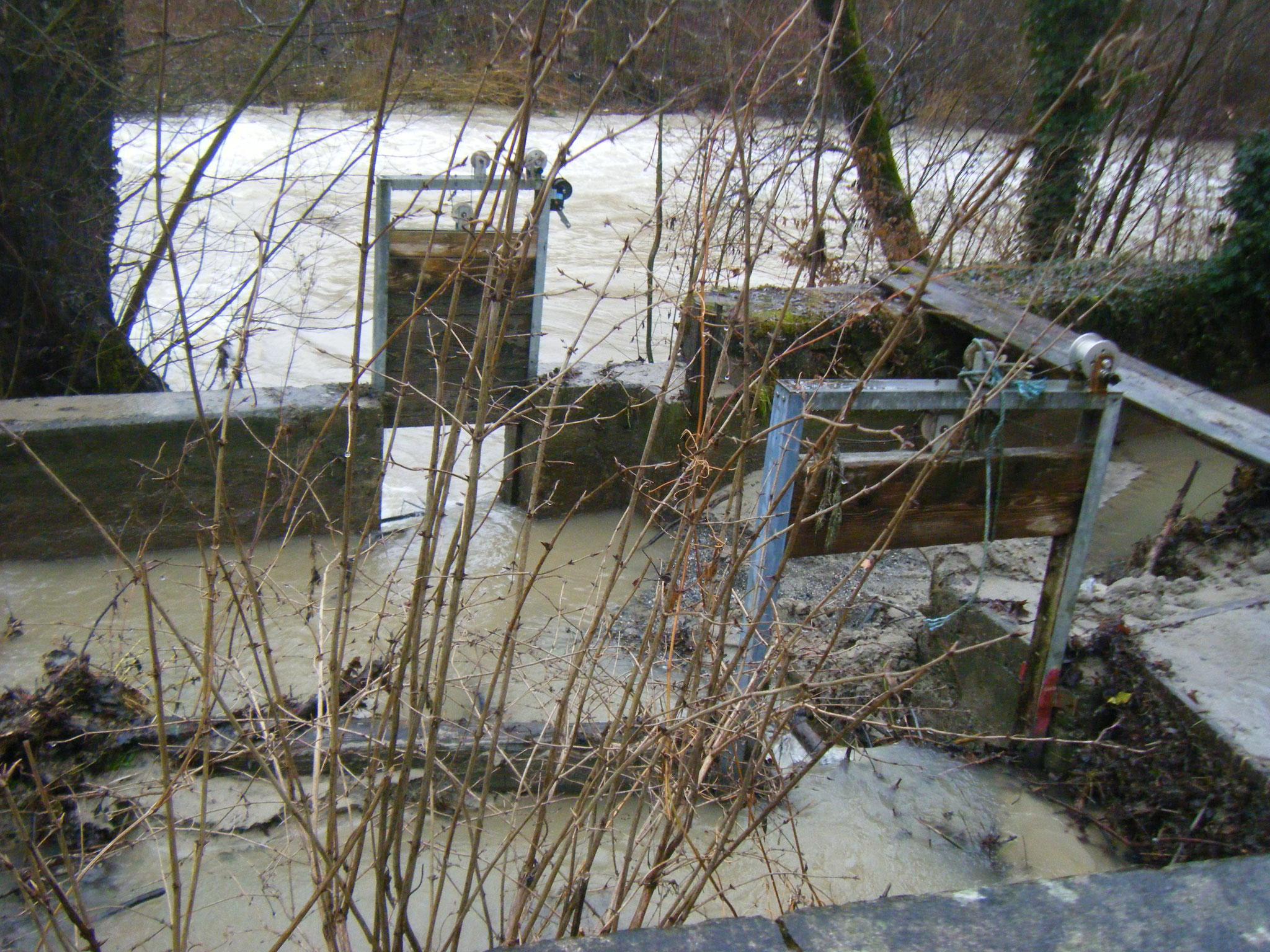 jedes größere Hochwasser macht hier die Wehranlage unbrauchbar und erfordert anschließend umfassende Reinigungsarbeiten
