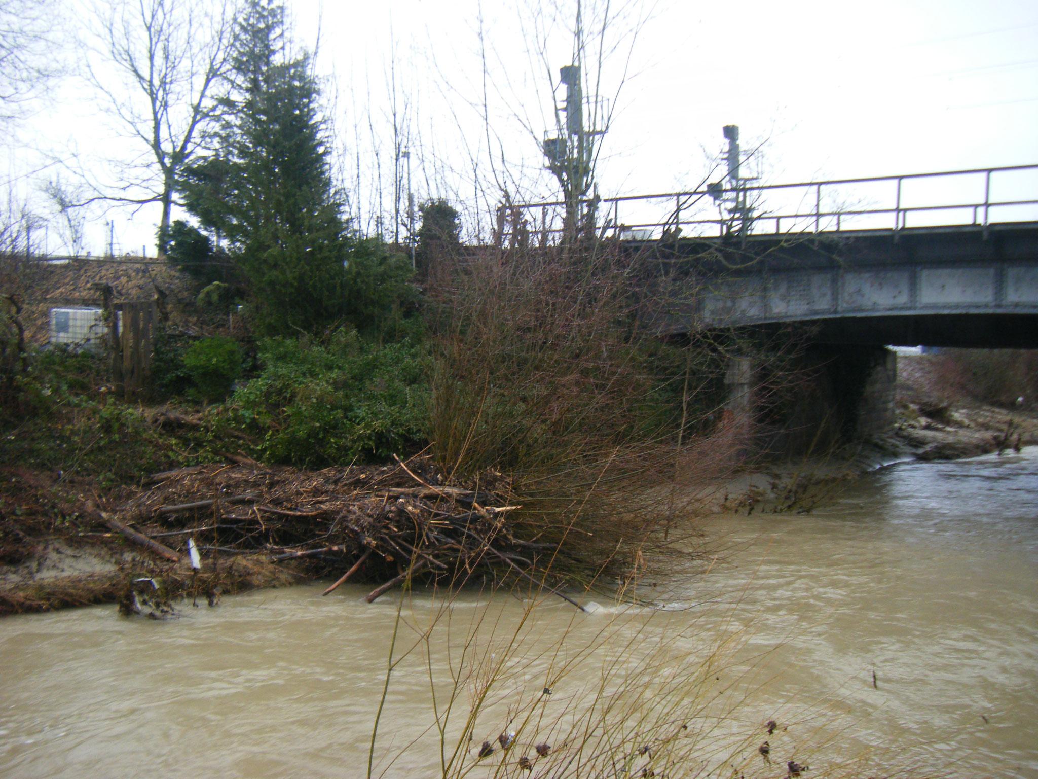 am Folgetag, gegen 15 Uhr, ist der Pegel wieder deutlich gefallen, man sieht das angeschwemmte Treibholz an der Eisenbahnbrücke, das eine breite Barriere bildet.