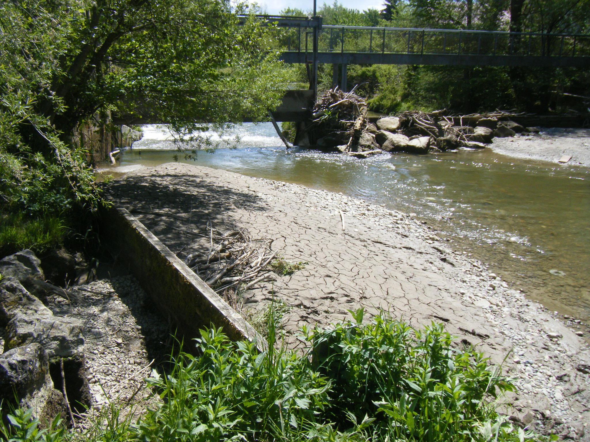 Das Wehr von hinten,   Der Wasserspiegel oberhalb des Wehrs ist um ca. 1 m abgefallen, Der Zufluss zur Fischtreppe befindet sich unter dem Brett links im Bild