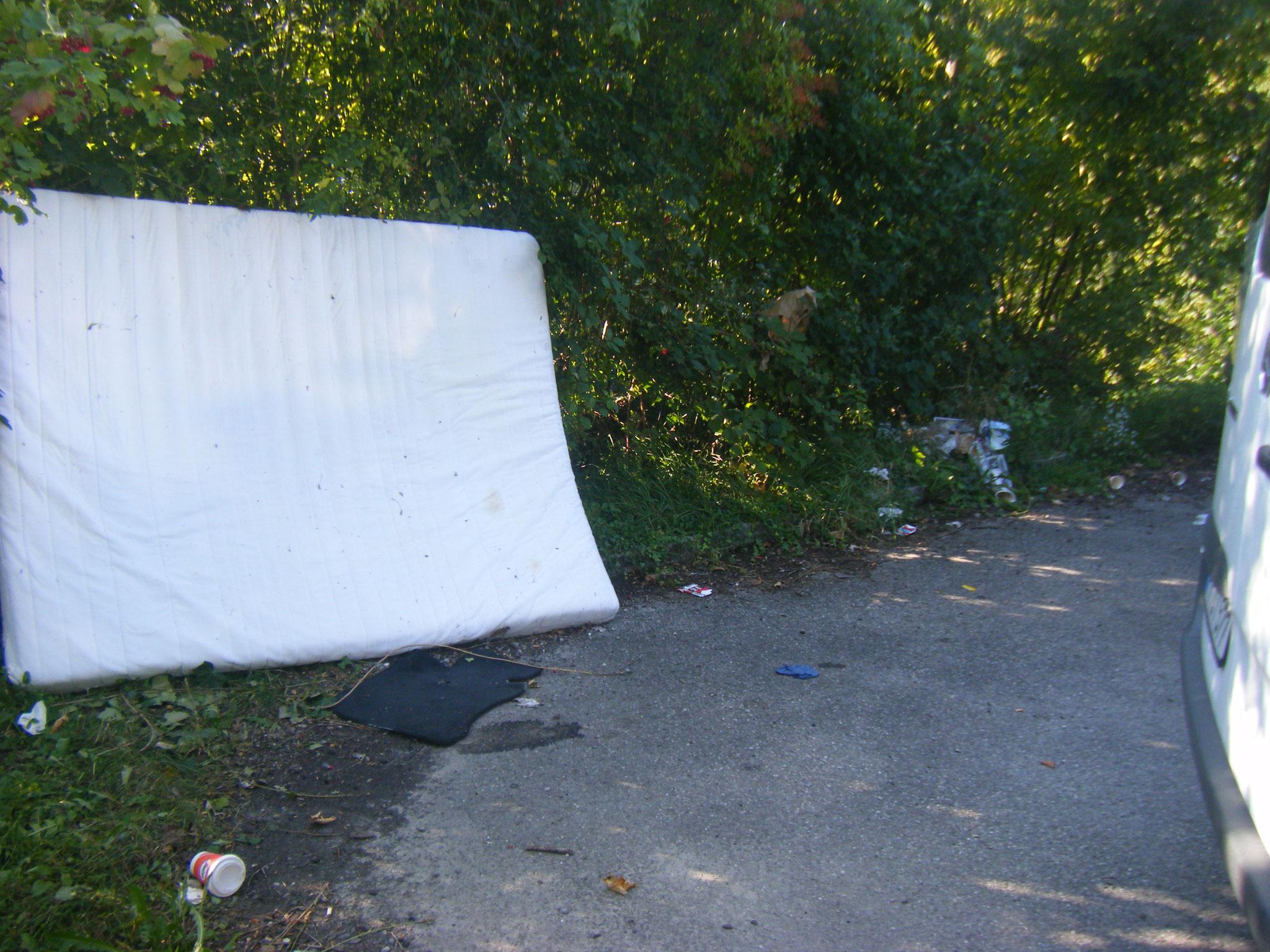 Das hintere Eck des ZF-Parkplatzes entwickelt sich zur Müllkippe - eine Matratze wurde einfach an die Böschung gelehnt.