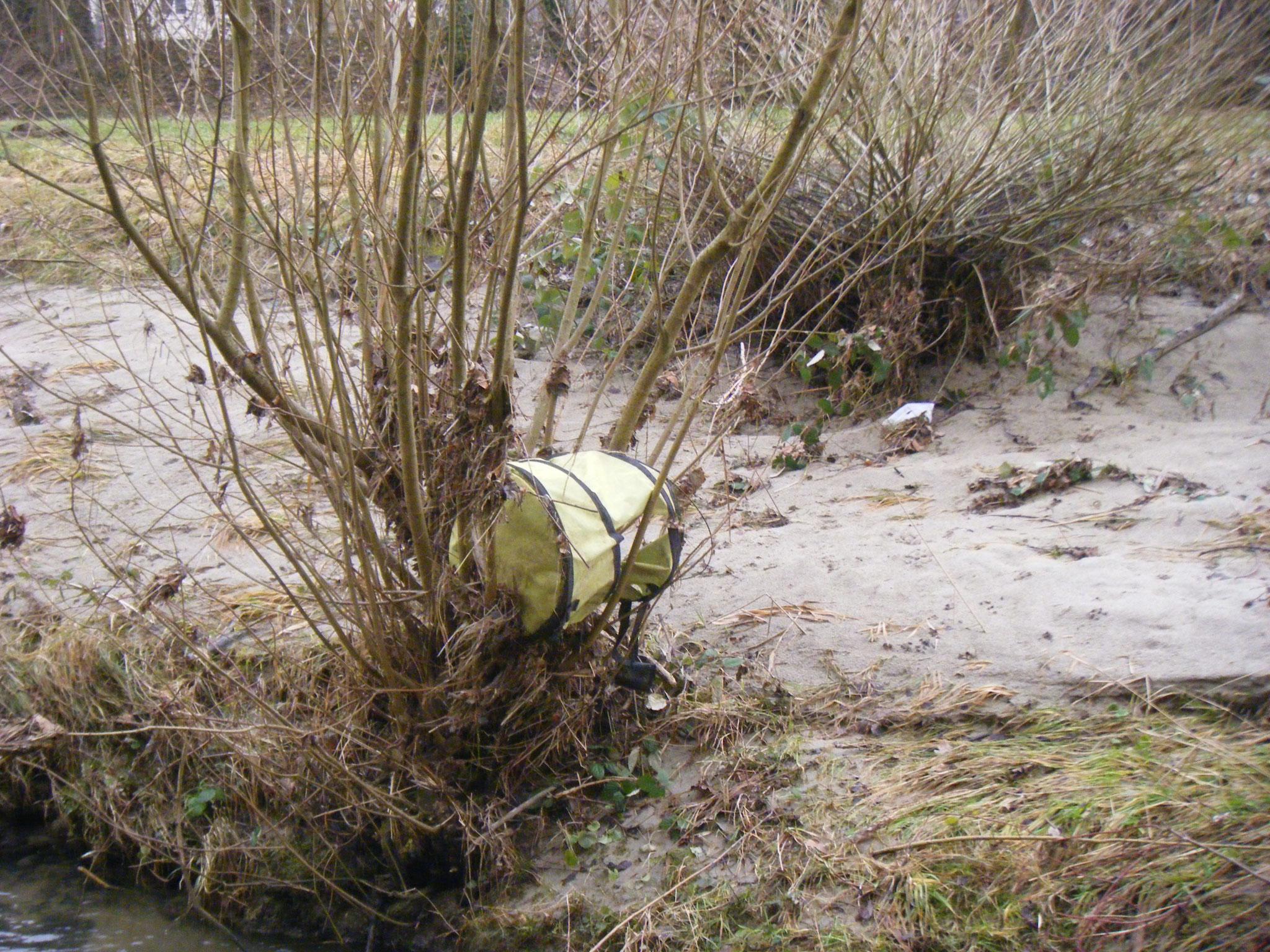 ebenfalls am Allmannsweiler Bach: ein Gartensack. Hier auch gut zu sehen: der Schwemmsand, der über die Dammkrone der Halbinsel gespült wurde