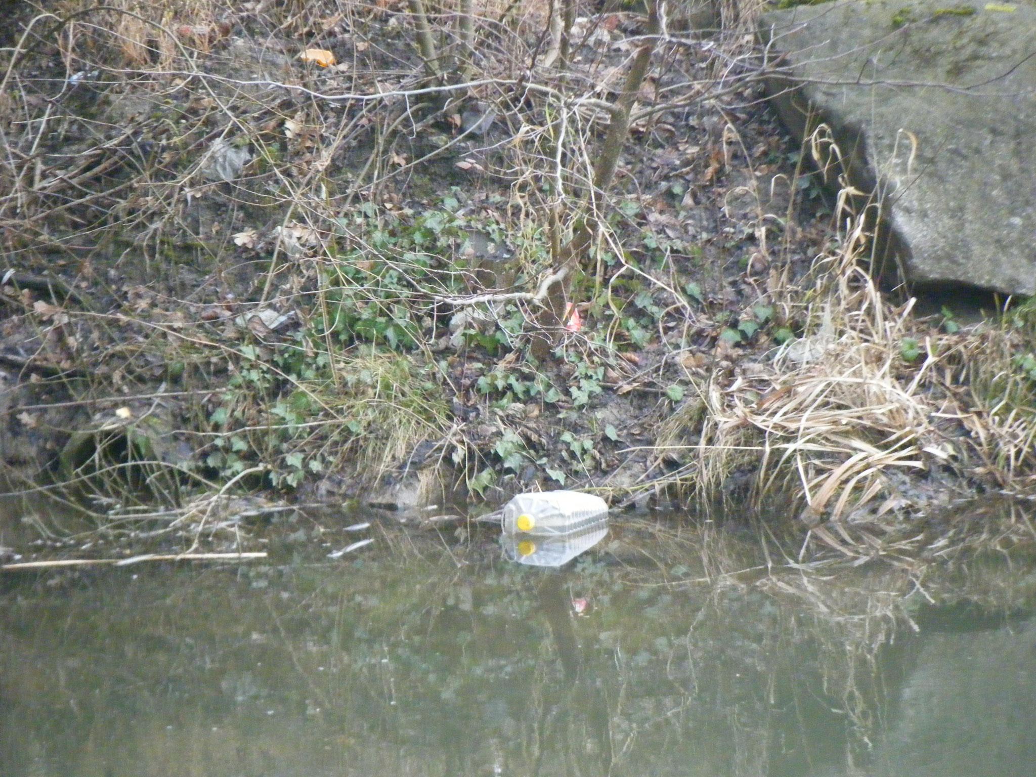 gegenüber dümpelt ein Plastikkanister im Wasser