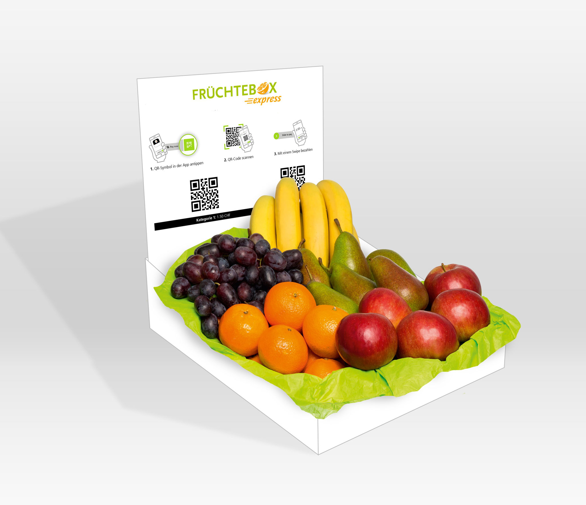 Früchtebox mit TWINT-QR-Codes