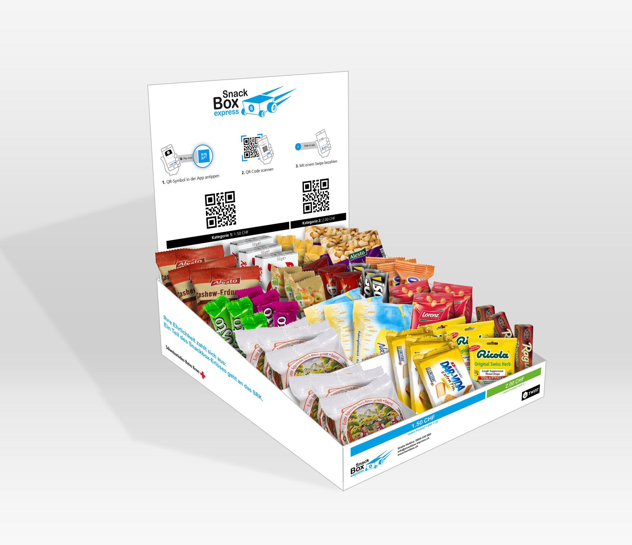 Snackbox mit TWINT-QR-Codes aus Karton