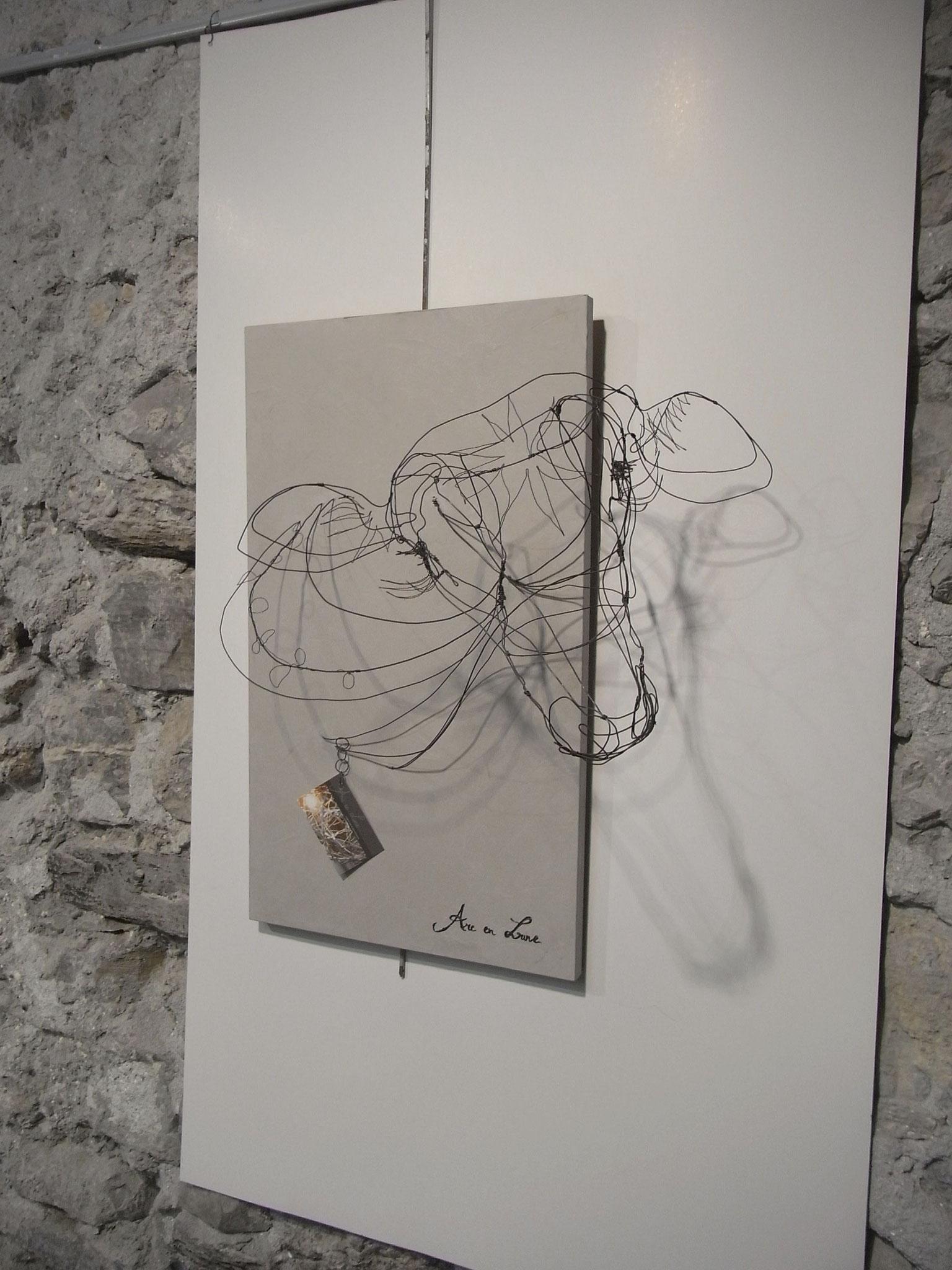 """Biche oh ma Biche"" tête en fil de fer3D de Arc en Lune L.60xH.35xP.35cm"