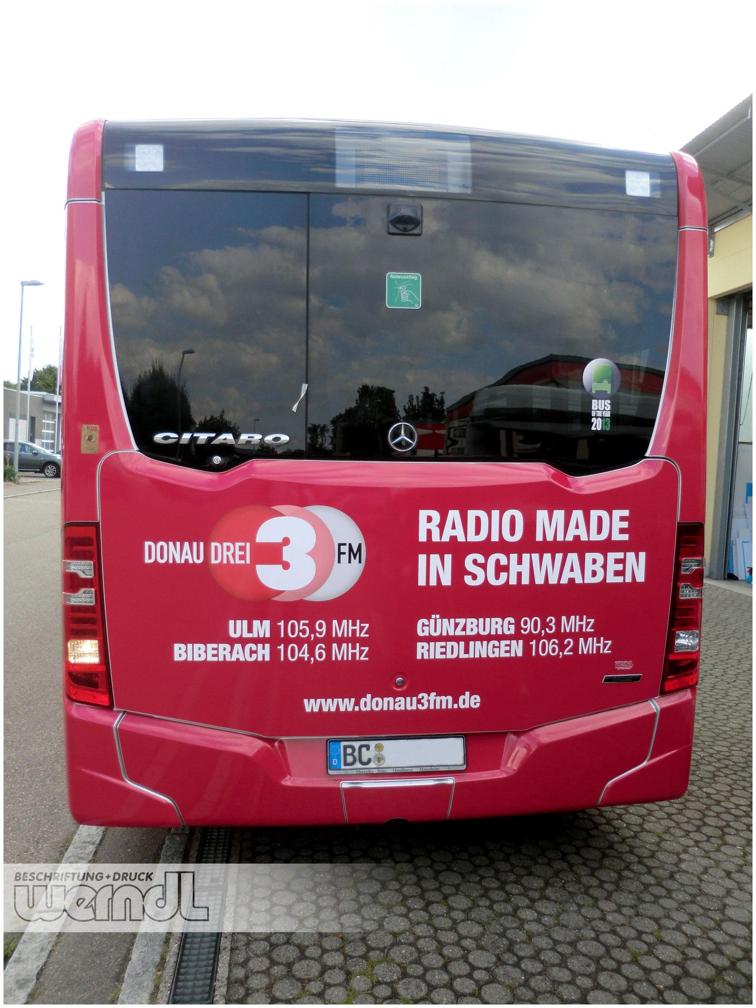 Stadtbus Vollfolierung für Donau3FM