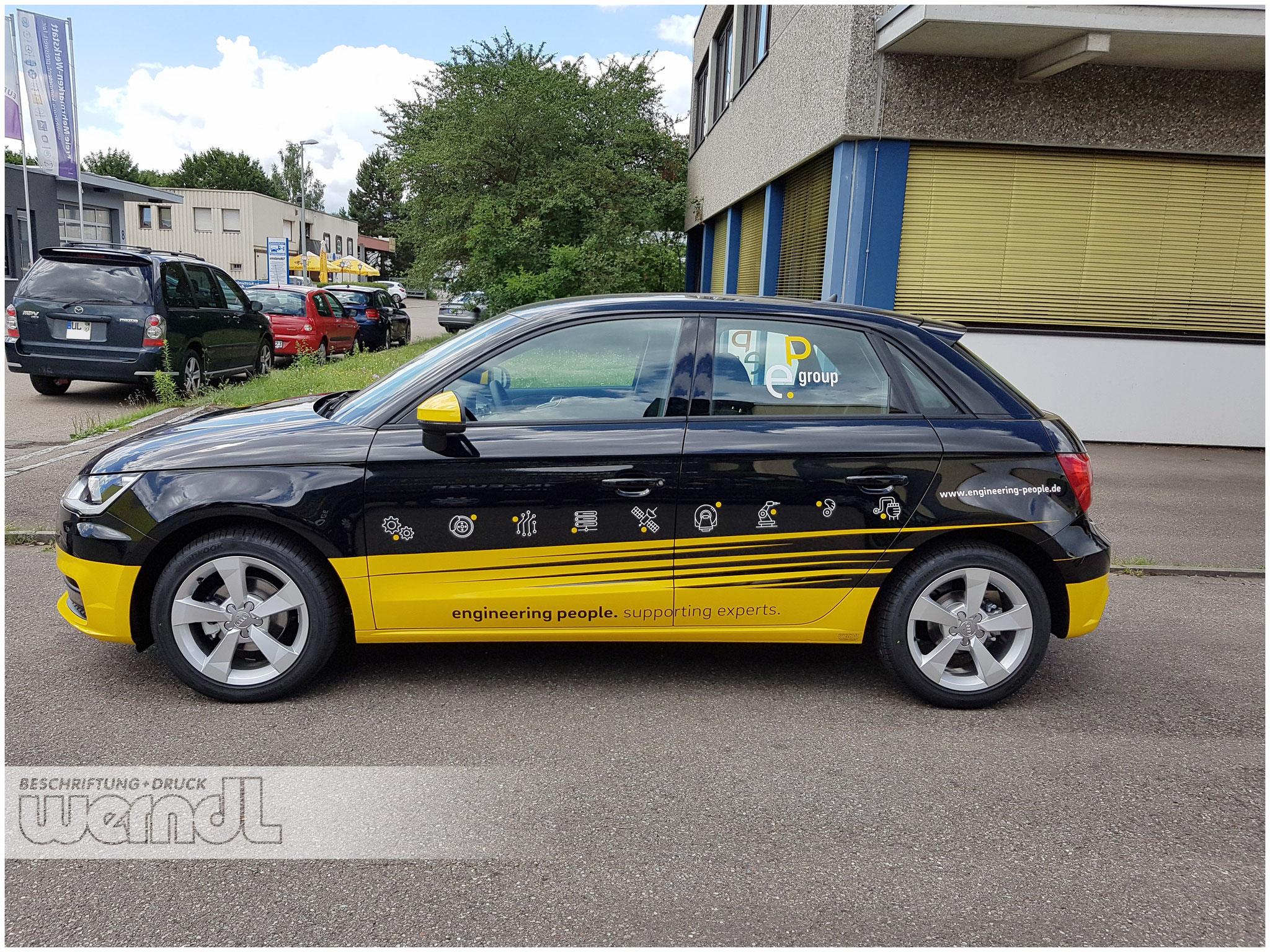 Audi A2 mit Teilfolierung in Gelb