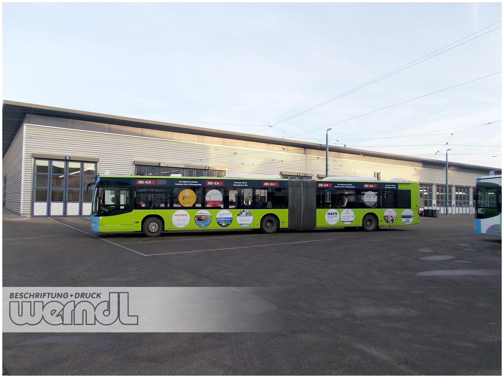 Gelenkbus Vollfolierung Jobs-Ulm