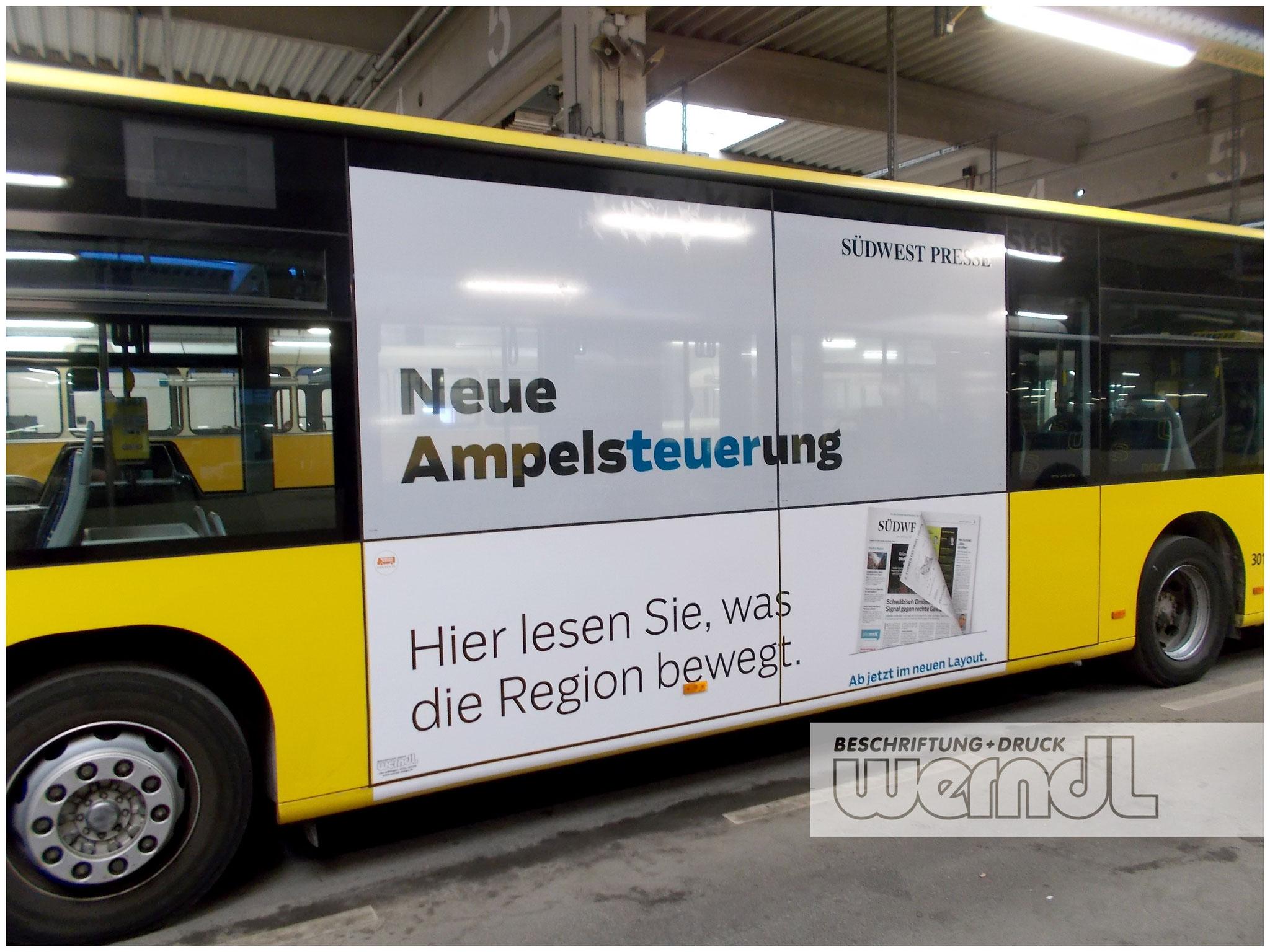 Stadtbus Trafficboard Teilfolierung