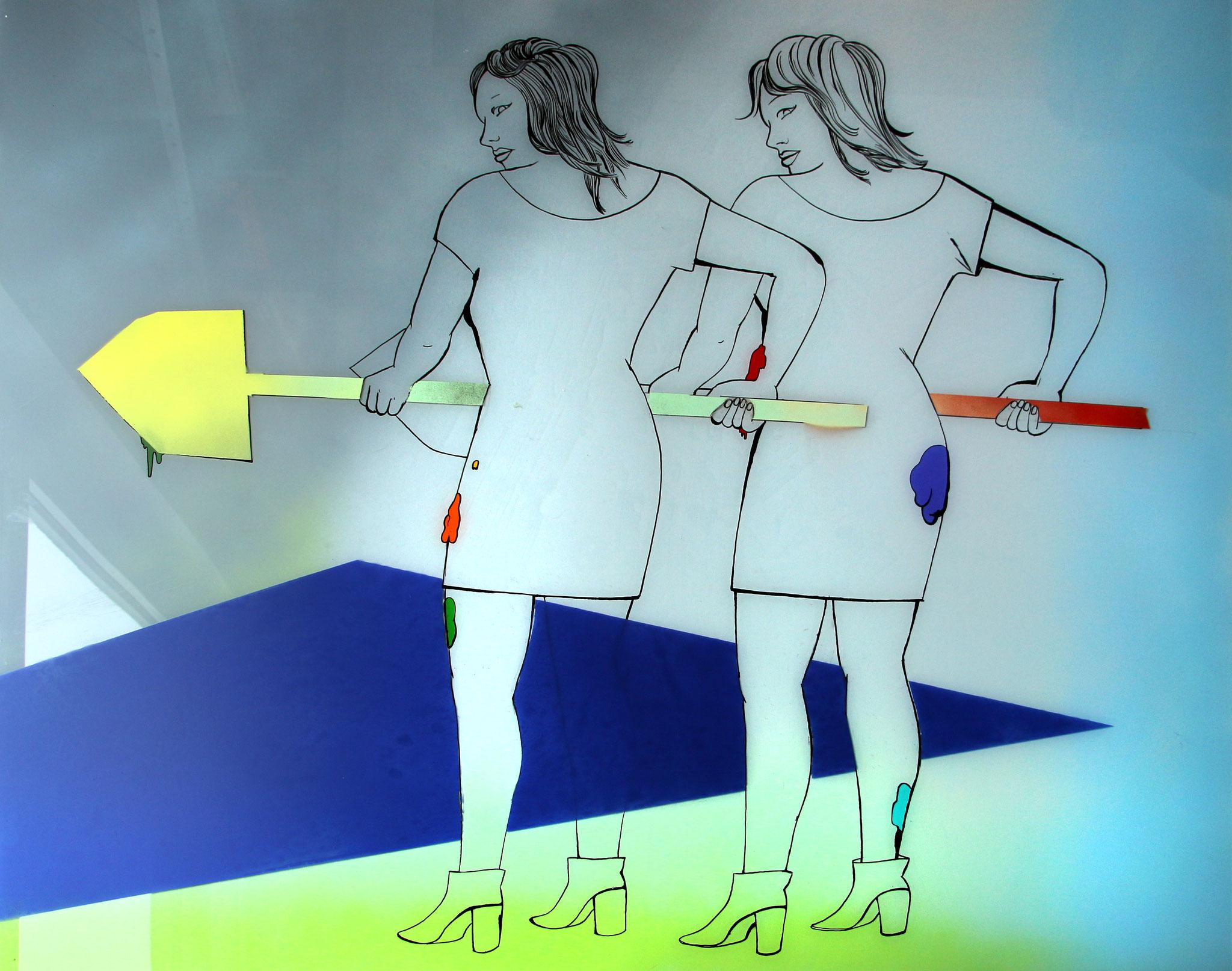 Schippendales, und ewig schippt der Mensch: Katharina Gschwendtner Malerei Zeichnung